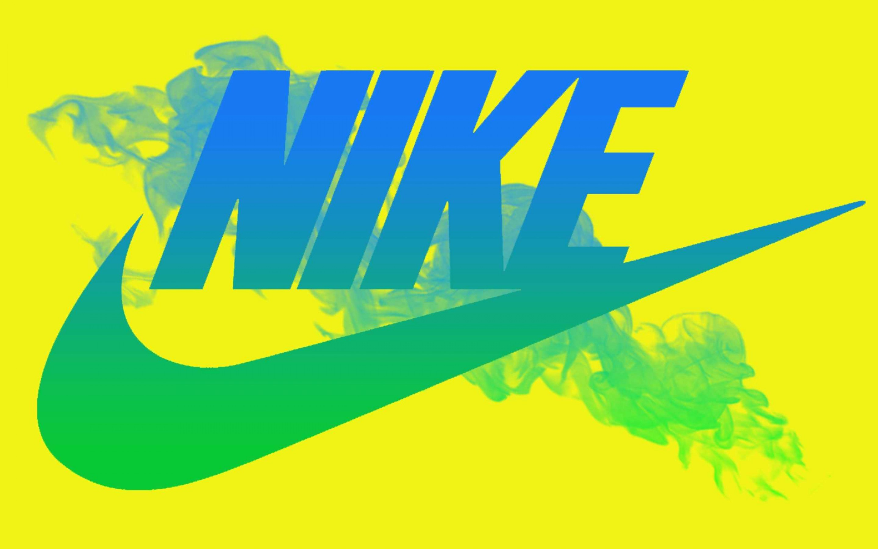 2880x1800 Blue Nike Logo Yellow Background Wallpaper Full HD