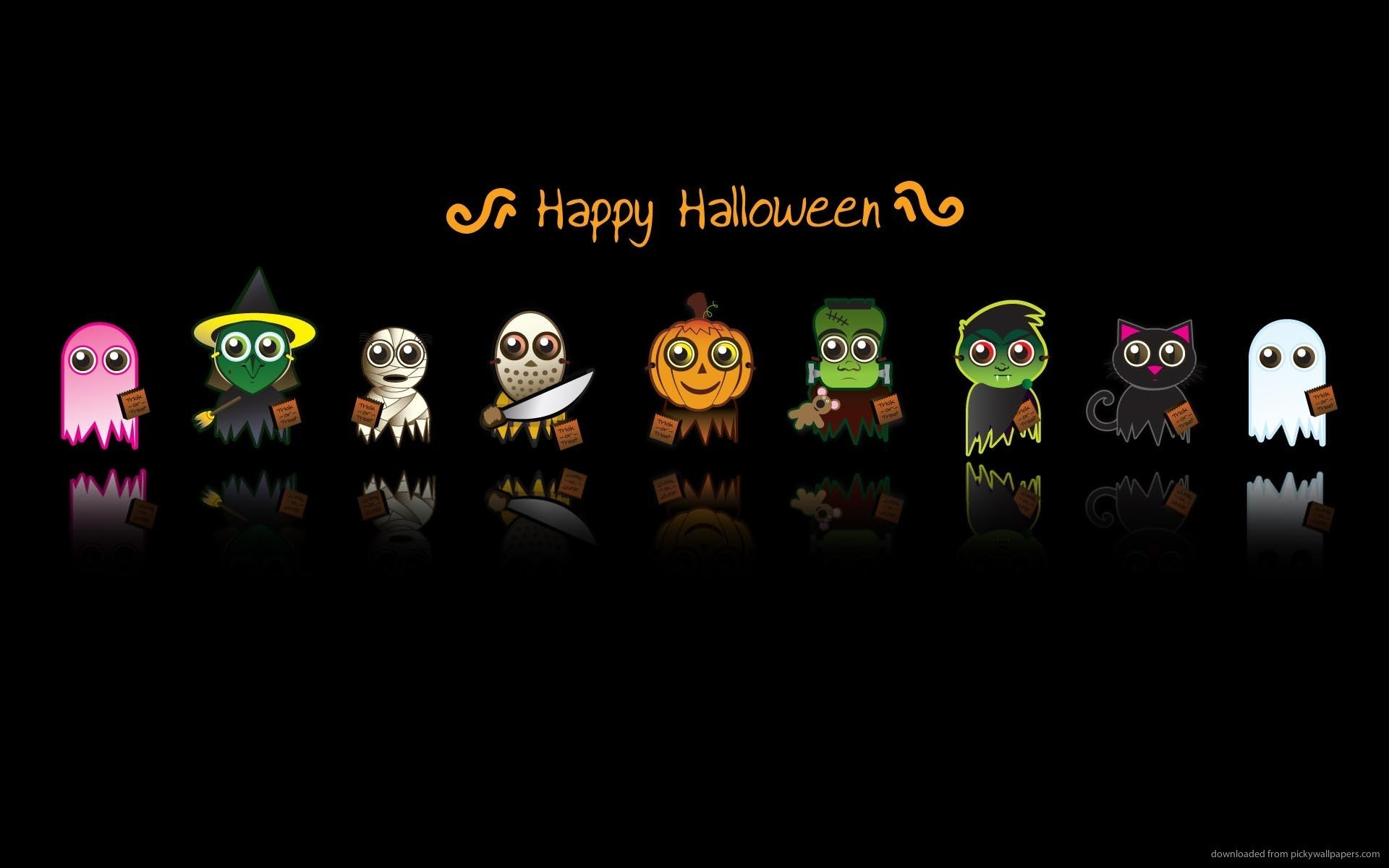 1920x1200 cute halloween characters backgrounds holidays wallpaper