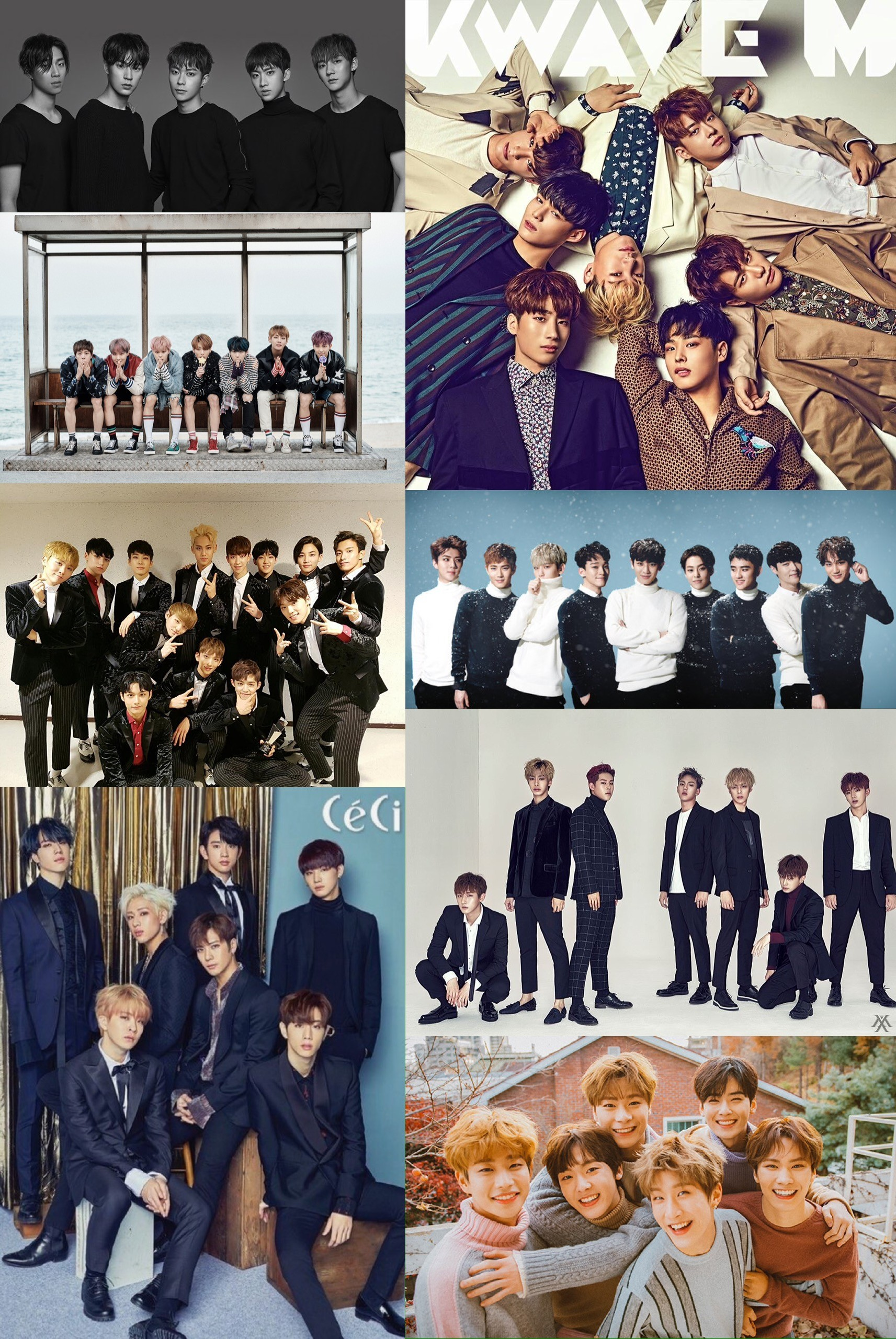 1713x2560 Kpop groups wallpaper. EXO, Monsta X, Victon, Got7, Seventeen, BTS