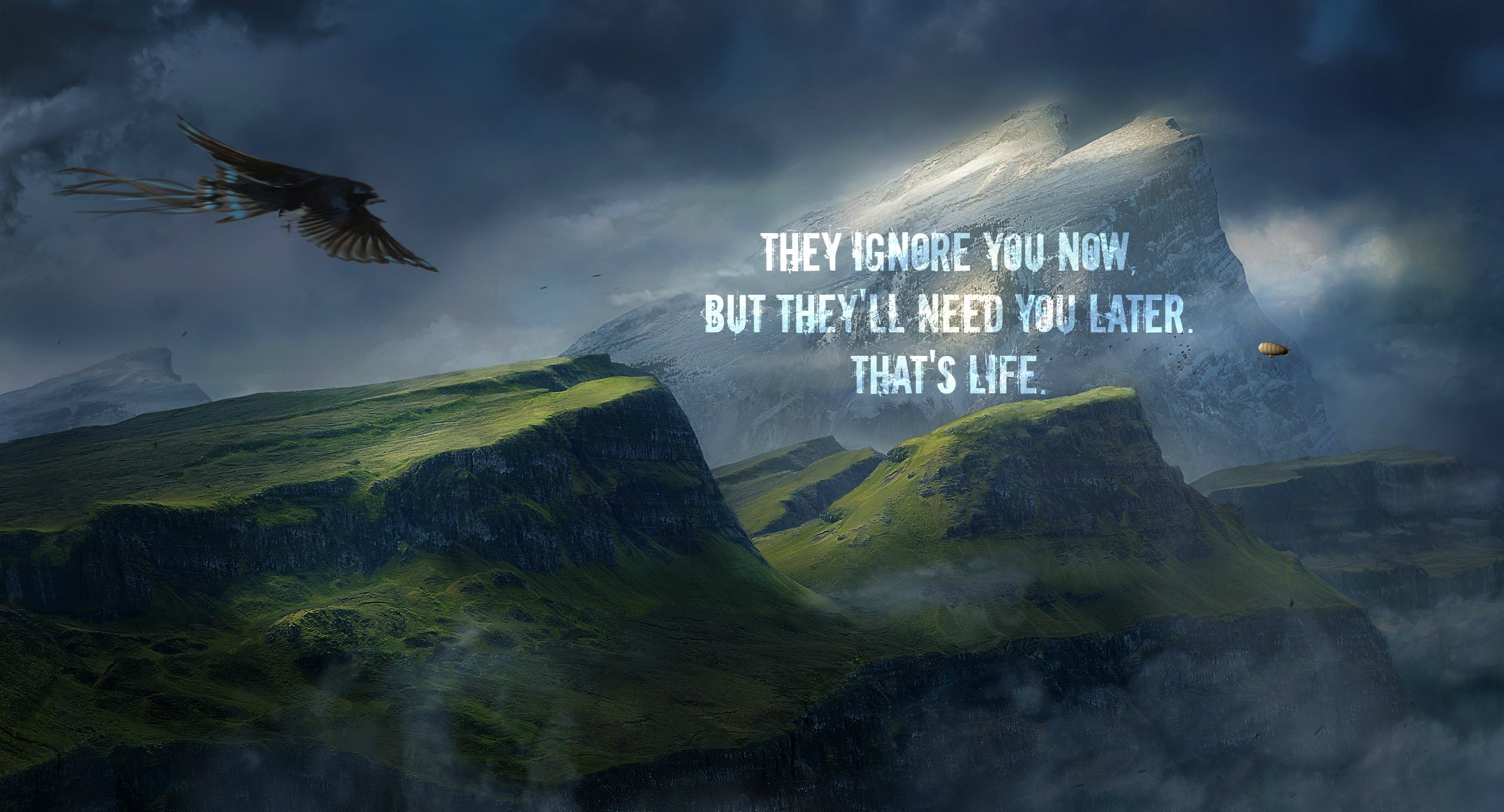 2560x1383 Nature, Landscape, Birds, Animals, Eagle, Quote, Inspirational, Mountain,  Digital Art Wallpapers HD / Desktop and Mobile Backgrounds