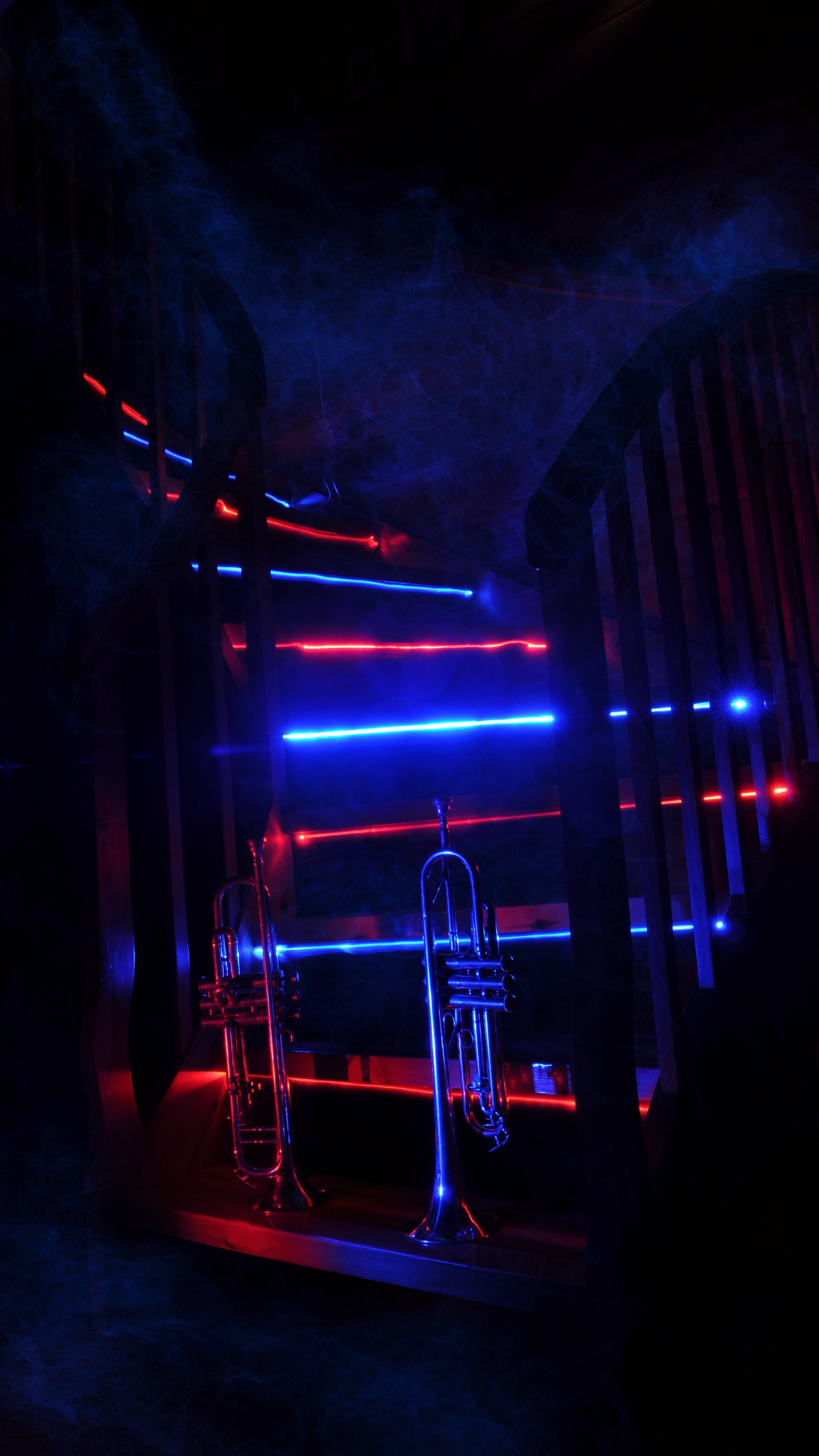 2160x3840  Wallpaper trumpet, music, stairway, neon, backlight, smoke