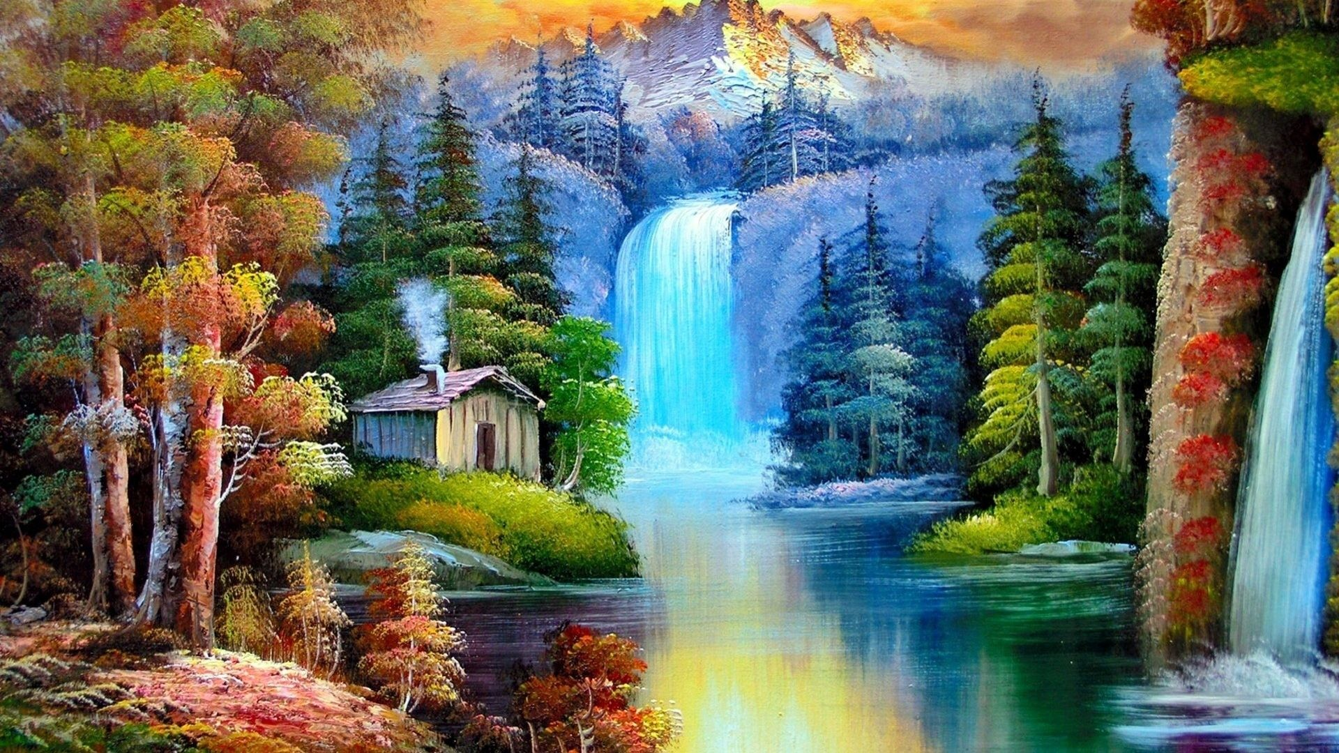 1920x1080 Download Waterfall Colorful Nature Painting Tree Waterfalls Animated Desktop  Wallpaper For Windows 7