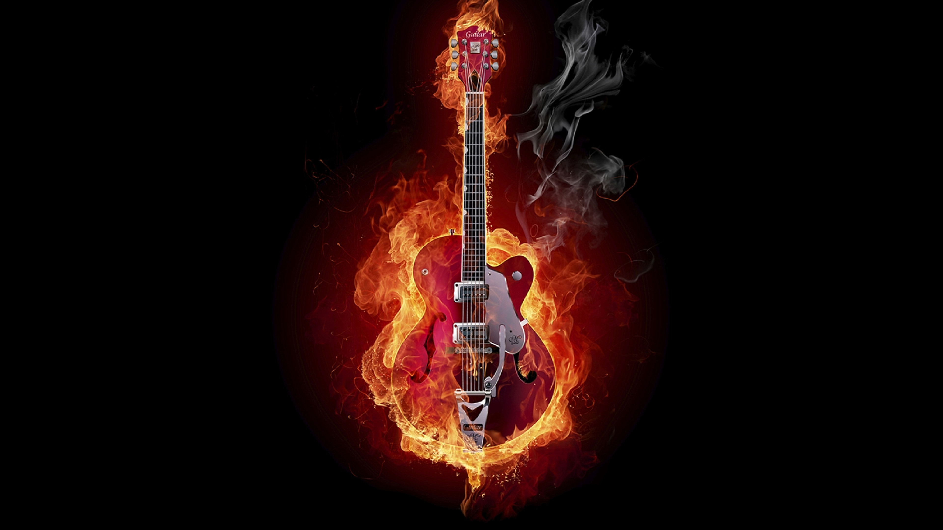 3840x2160 Preview wallpaper guitar, fire, instrument, smoke, background
