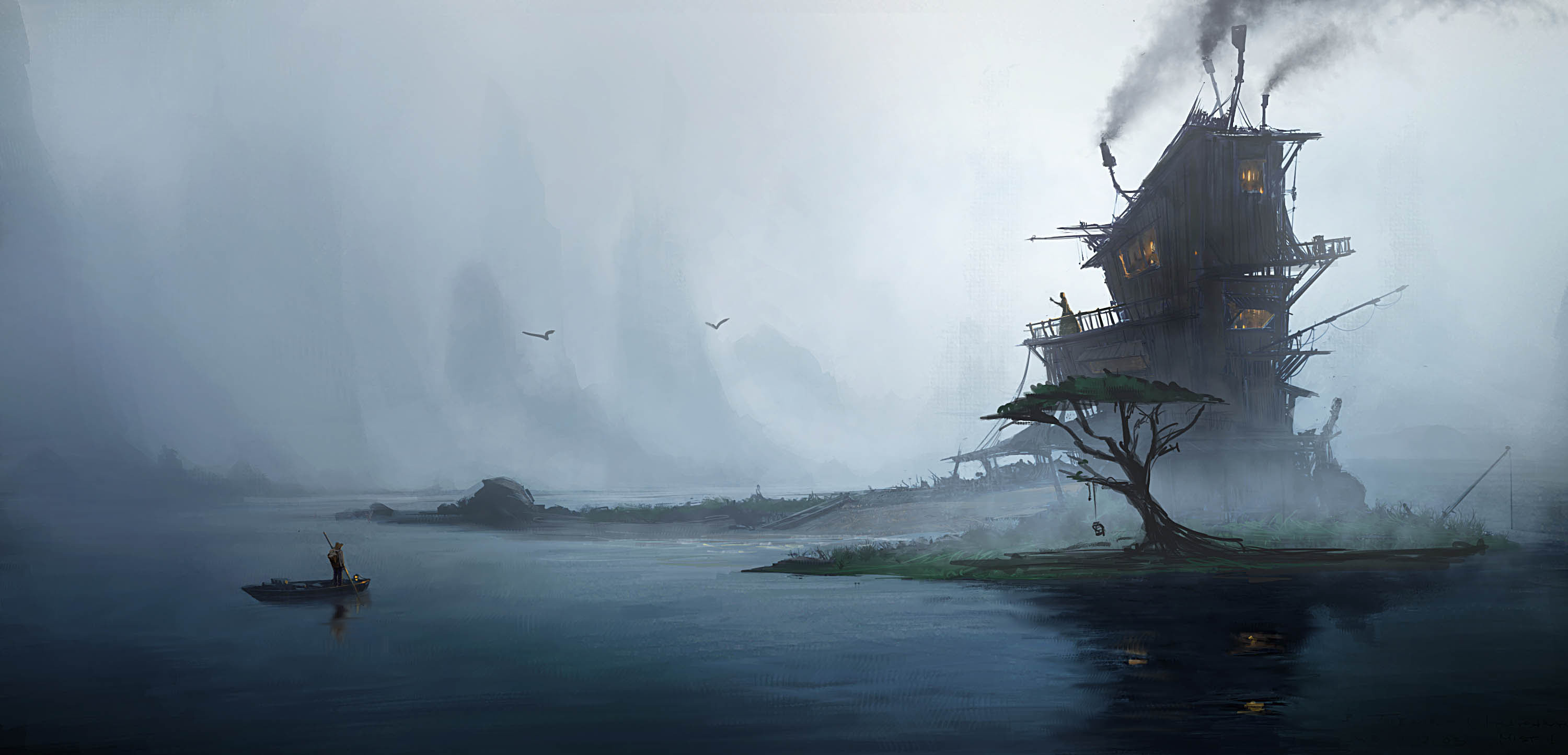 3000x1444 Fantasy - House Fog Island Dark Lake Fantasy Lonely Tree Wallpaper