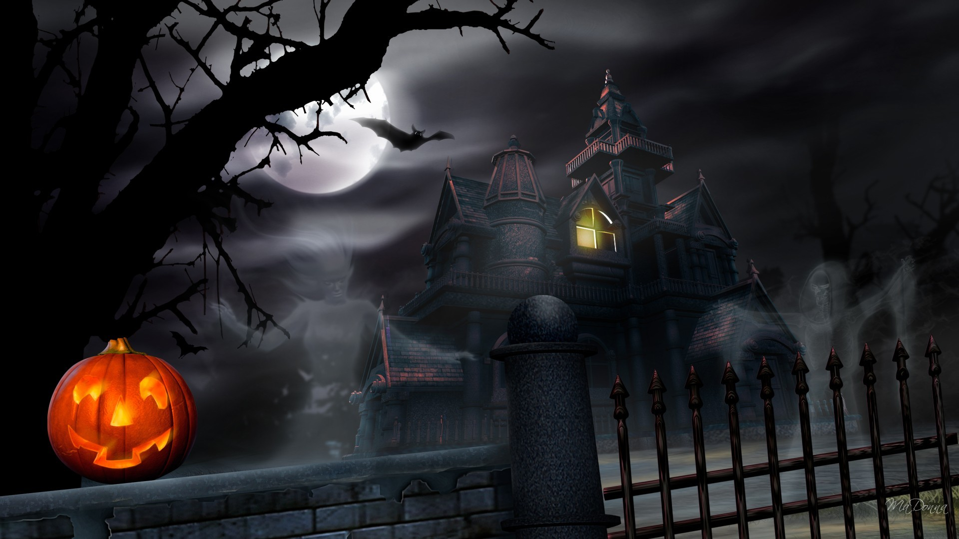1920x1080 Web Collection; PJO967 Halloween Haunted House, Wall.