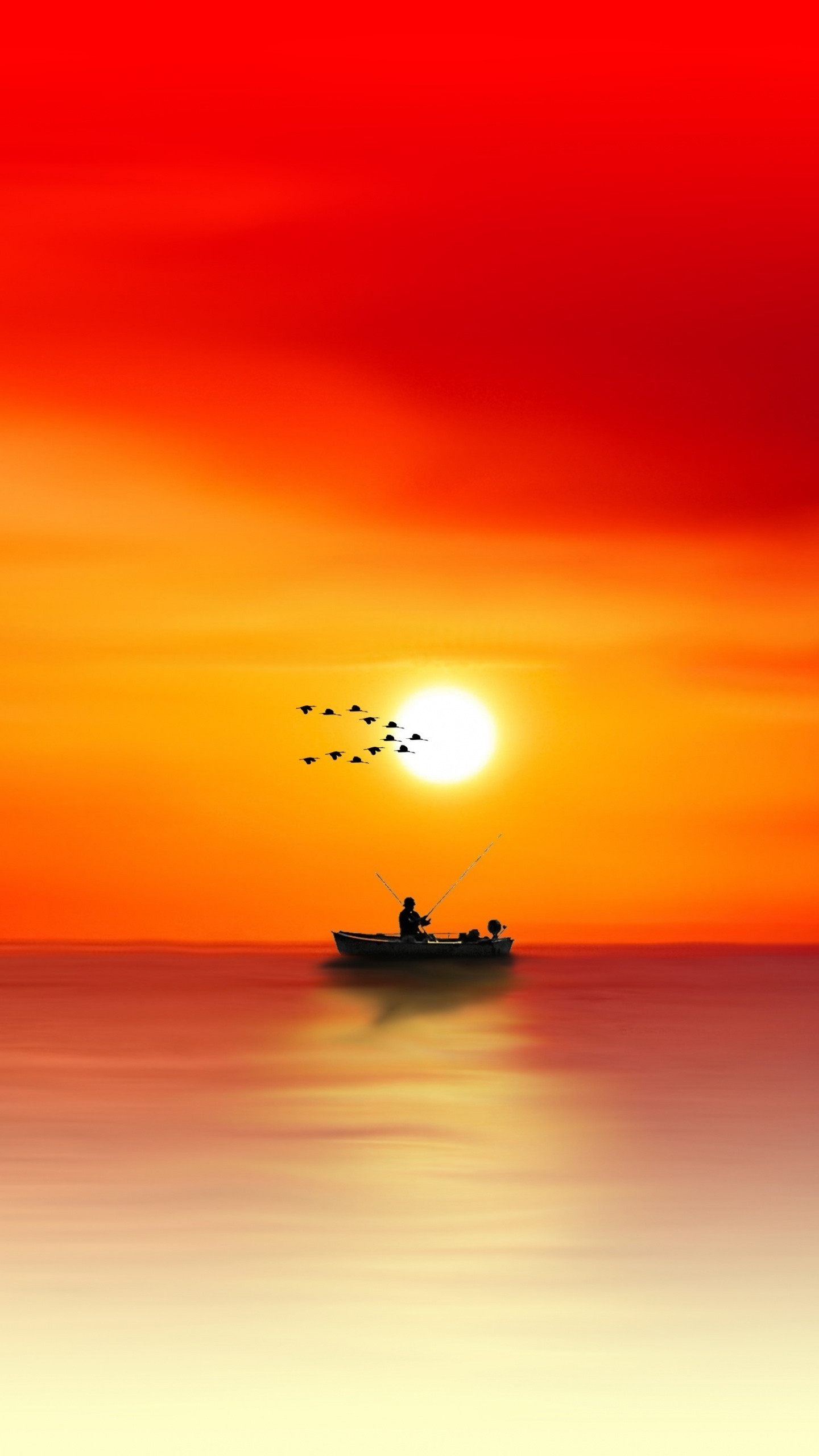 1440x2560  wallpaper Sunset, gradient, abstract, fishing, boat