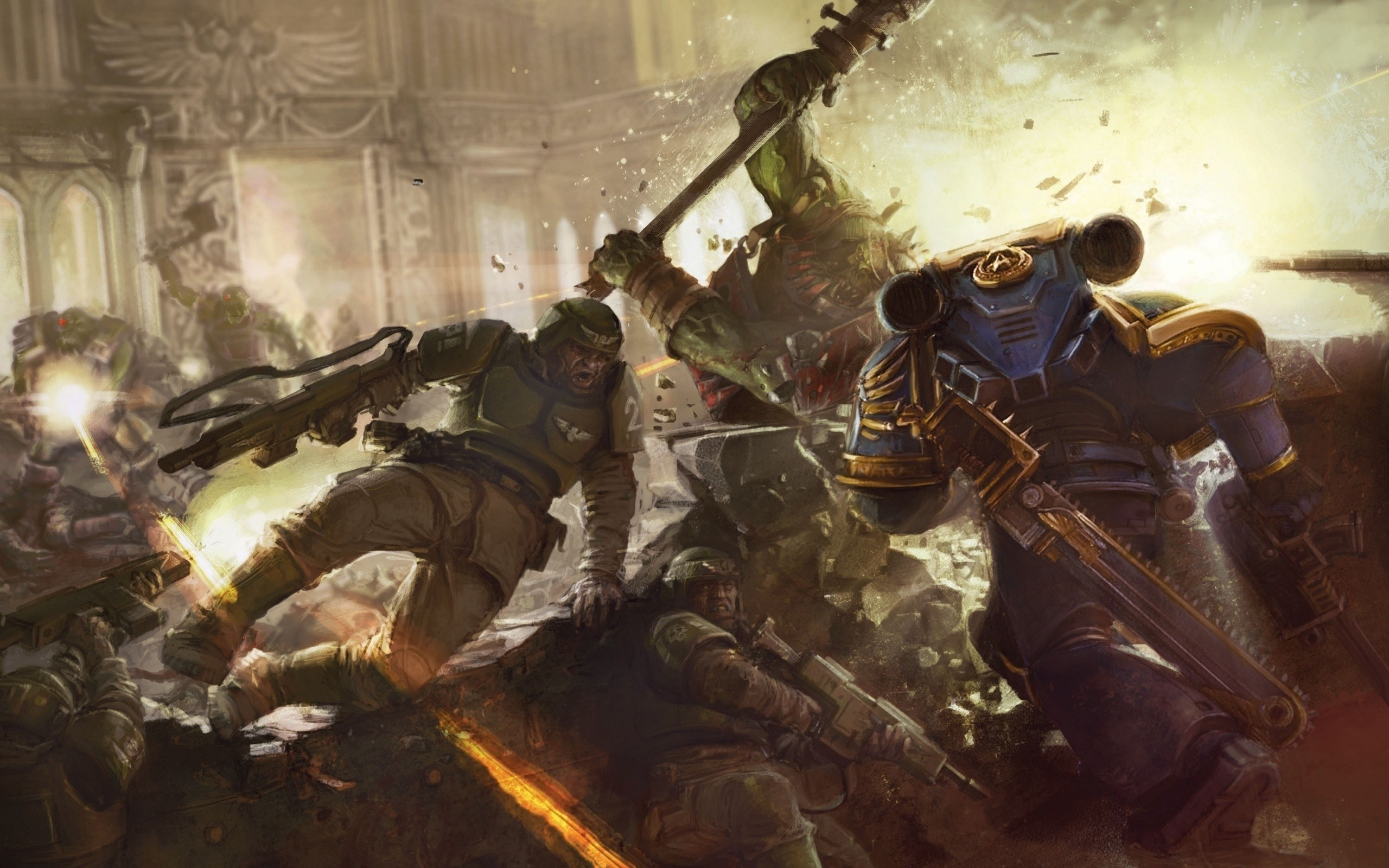2560x1600 Space Marines And Imperial Guard Vs Orks wallpaper