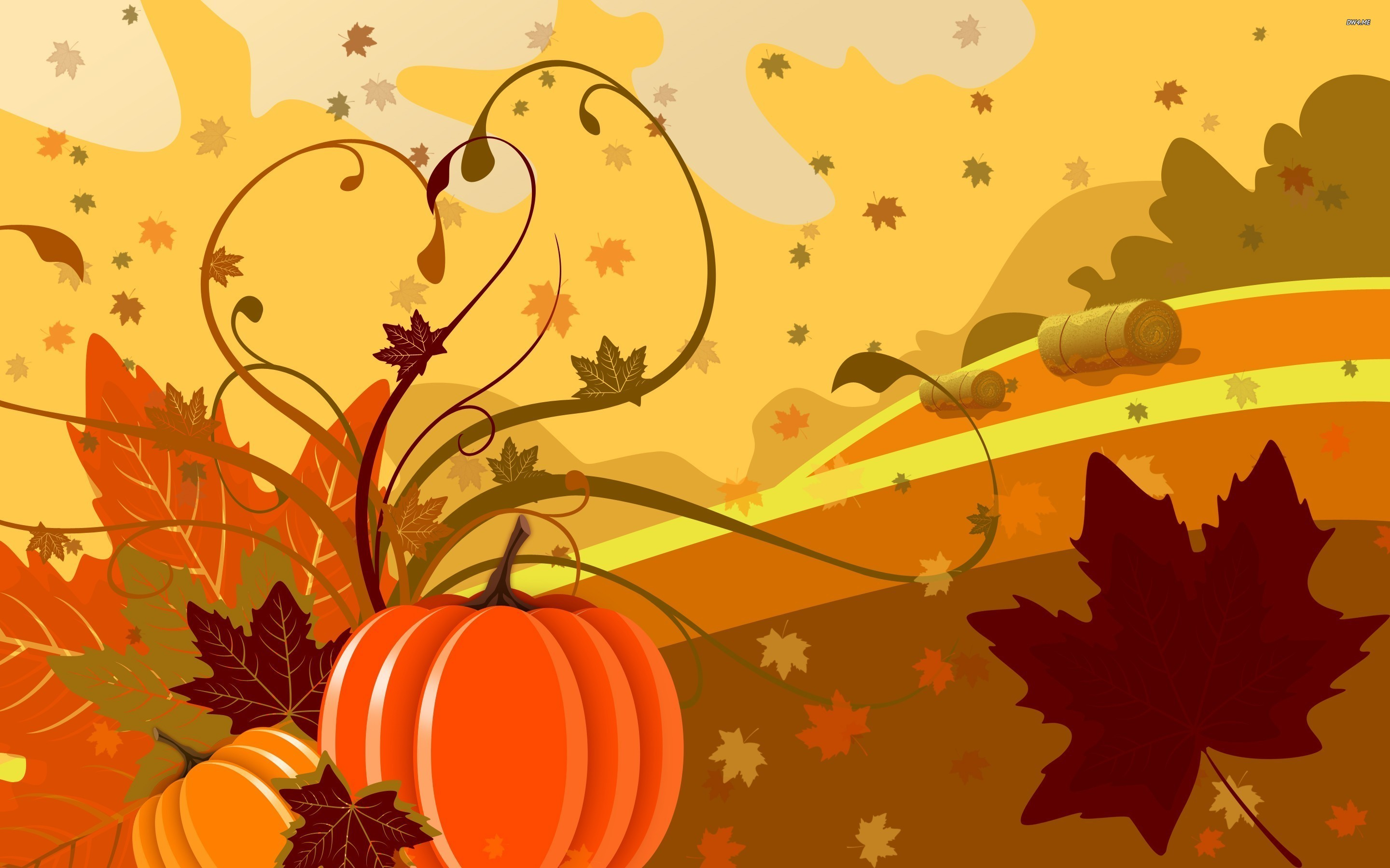 2880x1800 Fall Leaves And Pumpkin Wallpaper Images & Pictures - Becuo