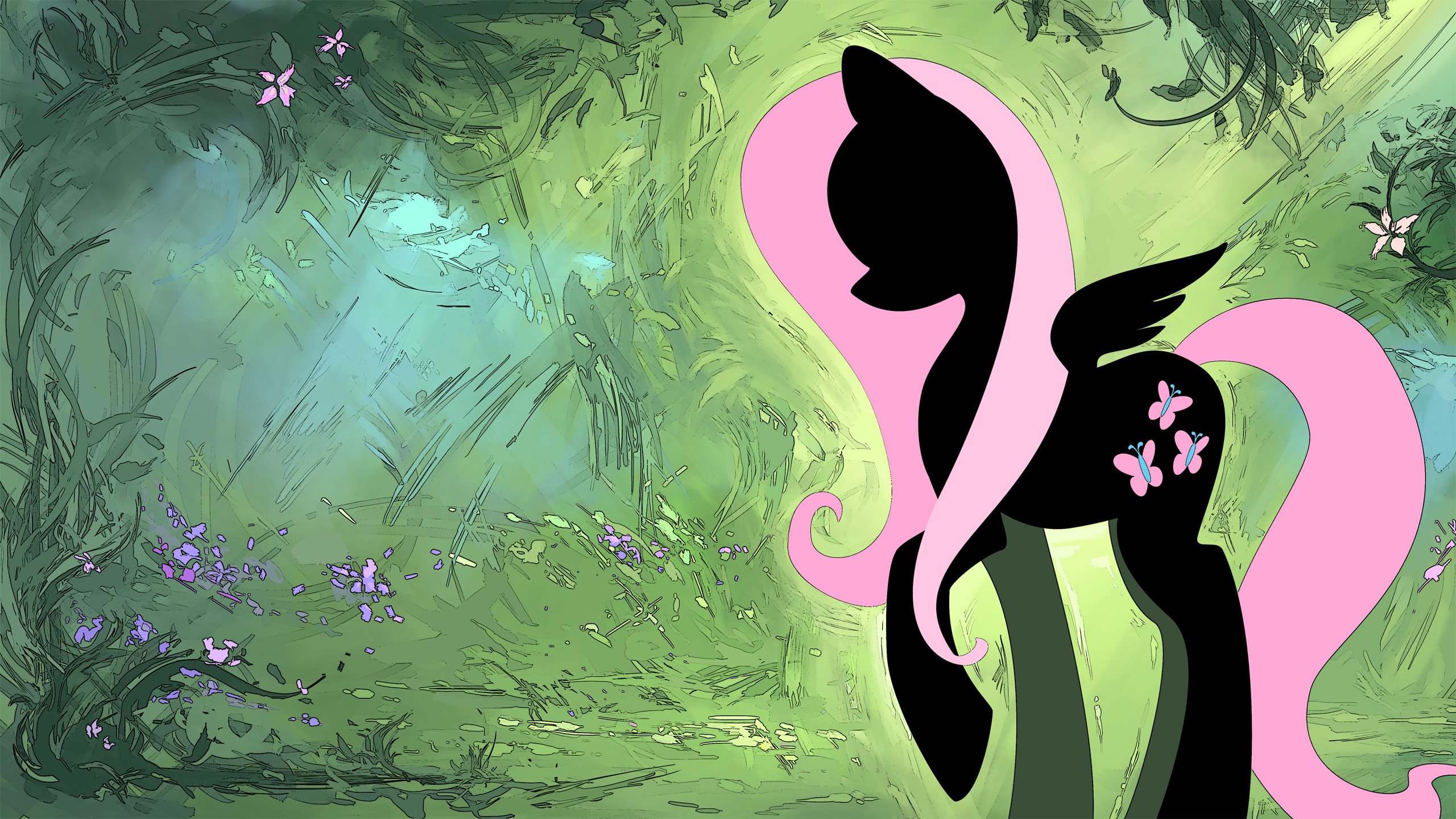 2560x1440 Fluttershy Wallpaper w/ Wings HD