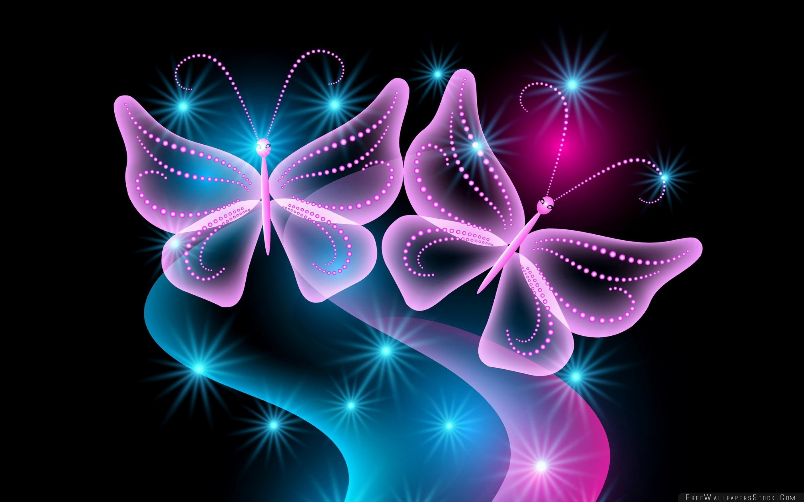 2560x1600 Download Free Wallpaper Butterflies Neon Light Abstract Black Background