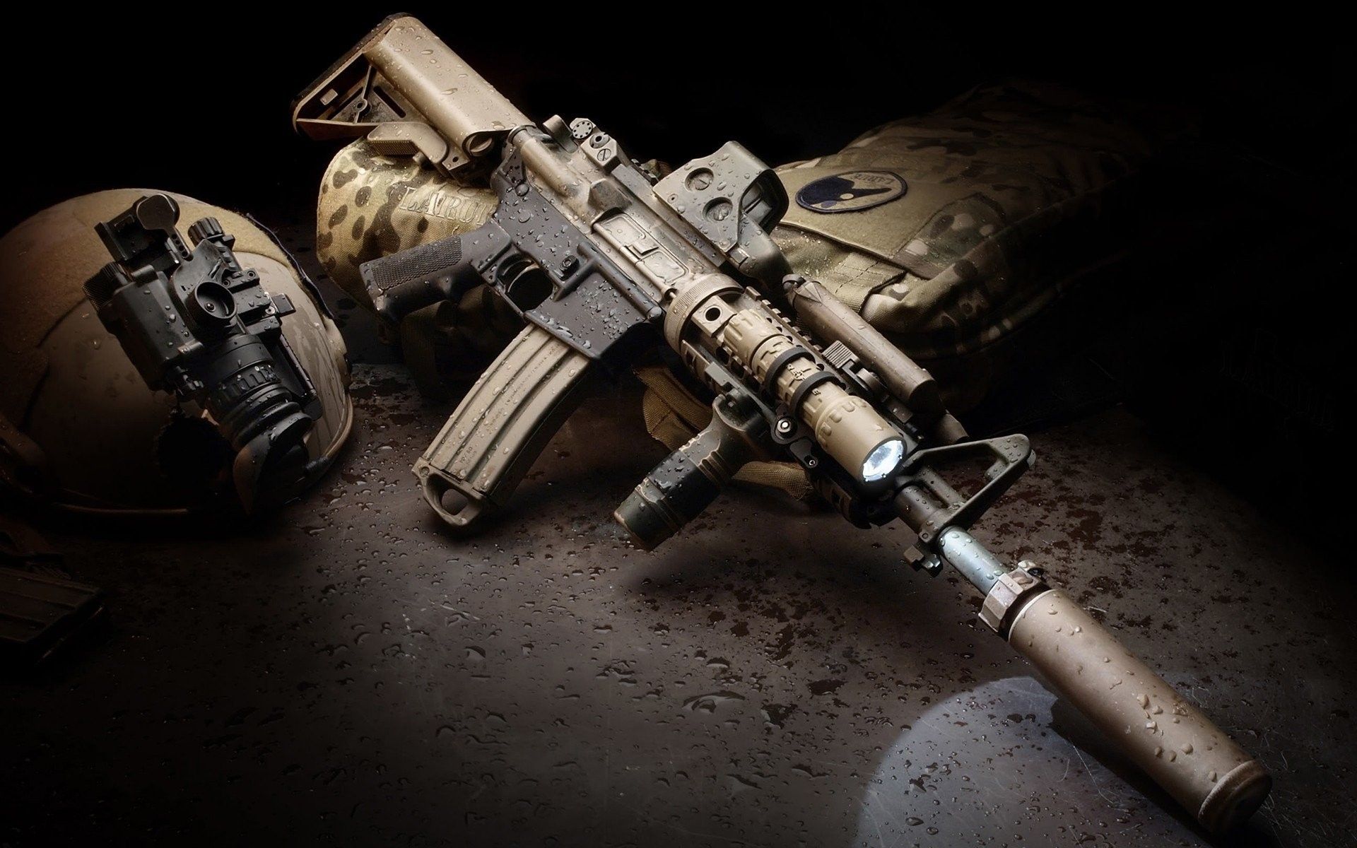 1920x1200 AR 15 Eotech Foregrip LaRue Tactical Magpul Rifles Silencer Suppressor Surefire LED WeaponLight Water Drops