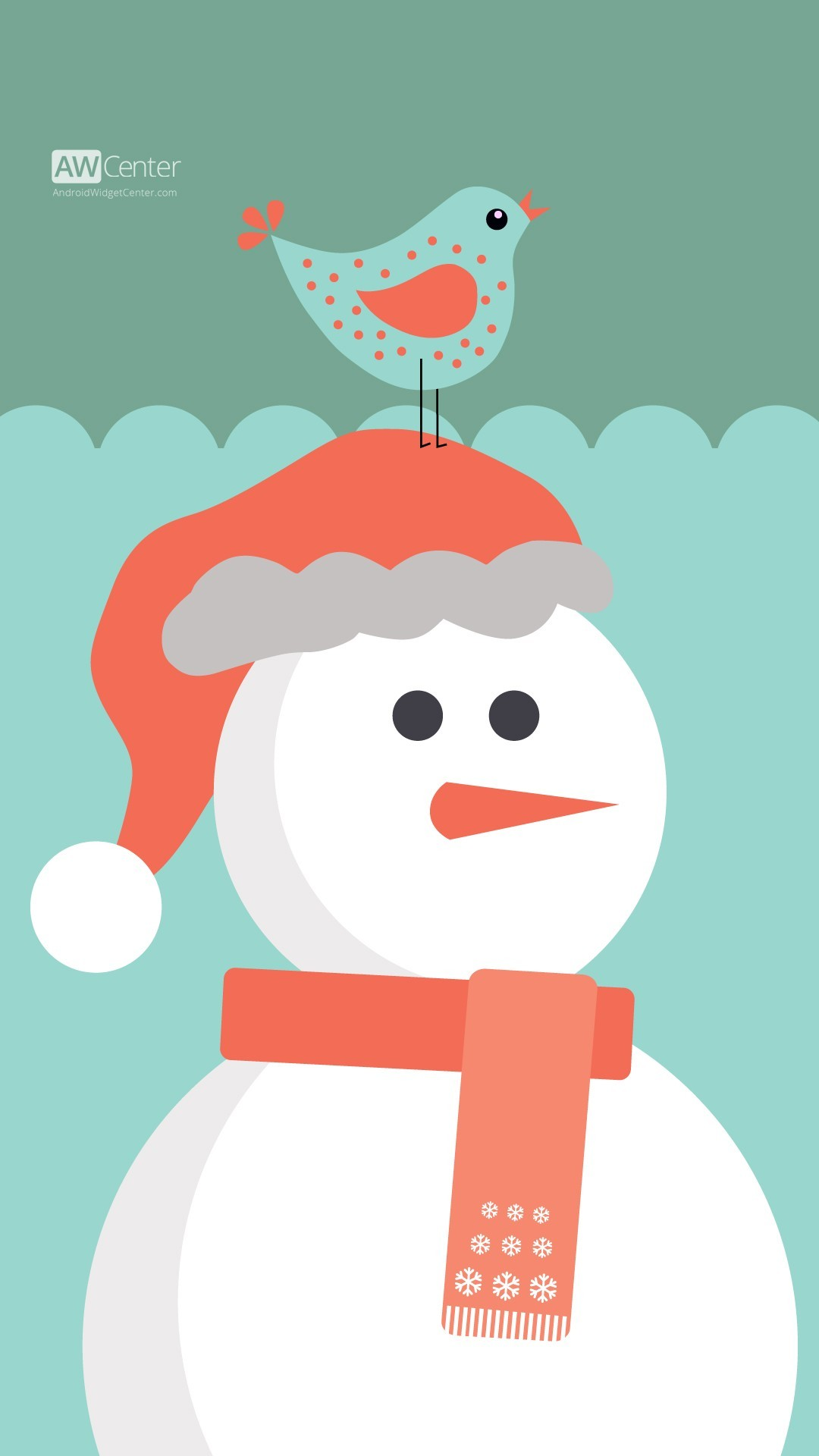 1080x1920 cute cartoon 2015 Christmas santa snowman iPhone 6 plus wallpaper - bird,  scarf
