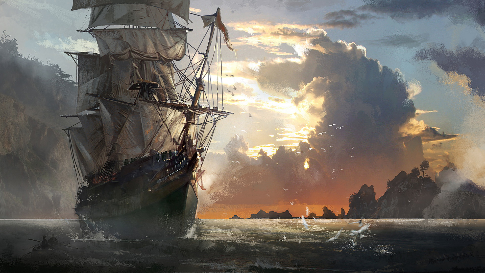 1920x1080 Preview wallpaper ship, sea, sail, storm, black white 1920x1080