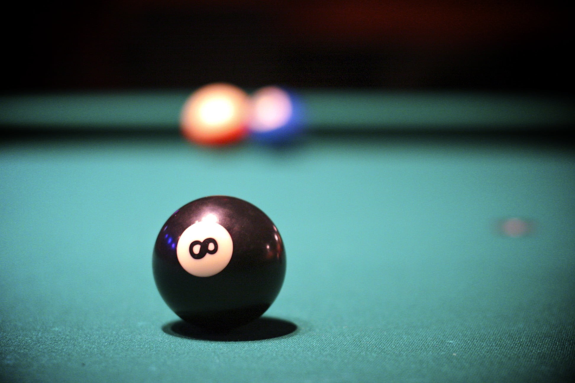 1944x1296 selective focus photography of 8 billiard ball on table HD wallpaper