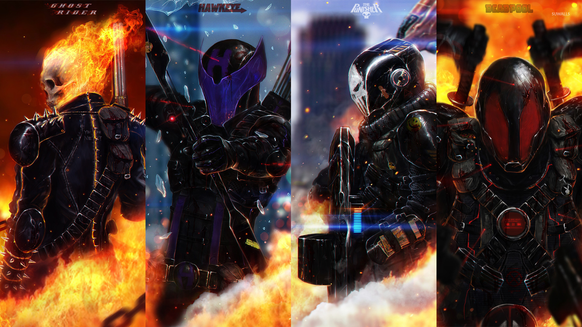 1920x1080 Ghost Rider, Hawkeye, The Punisher and Deadpool wallpaper  jpg