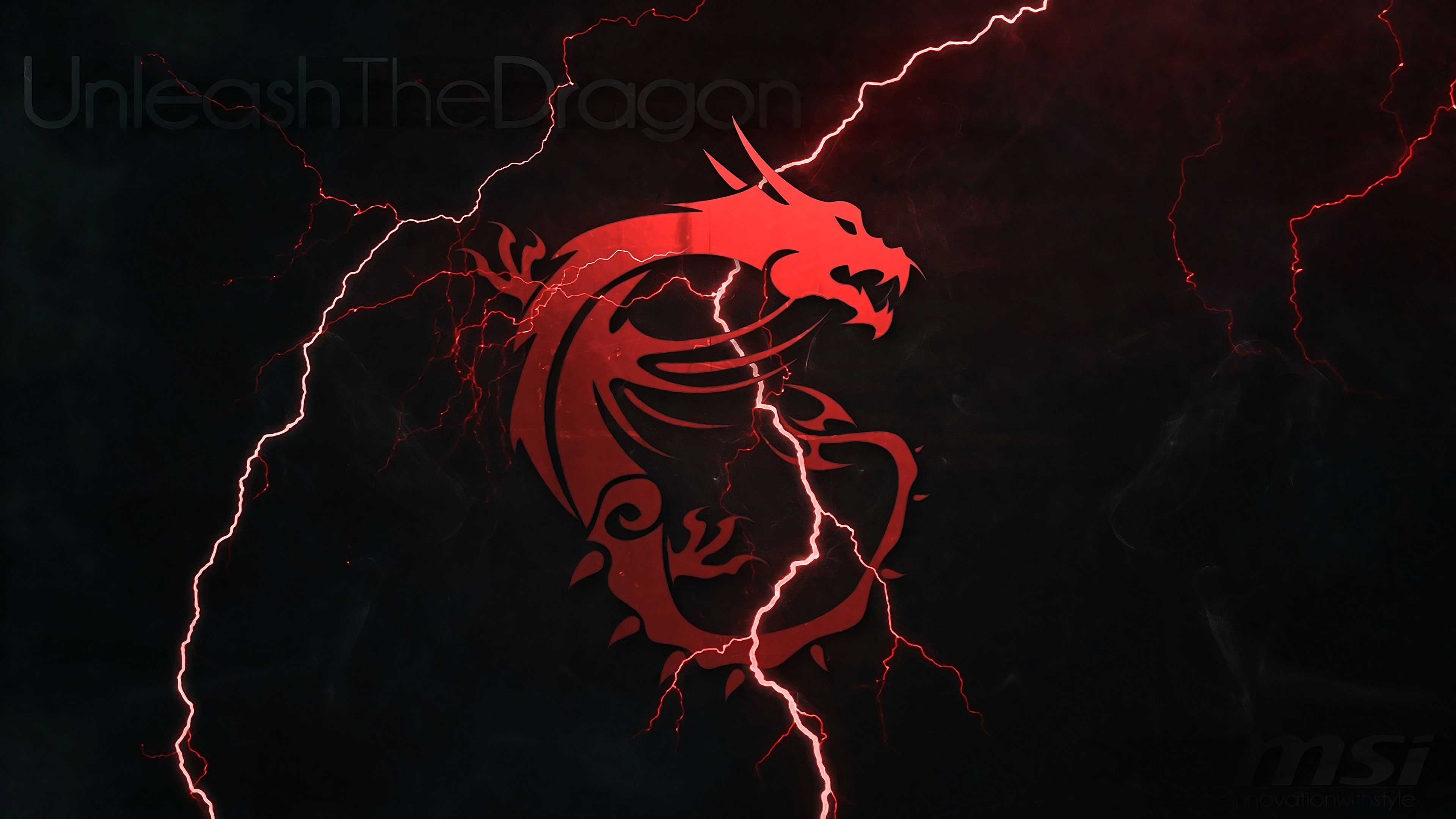 3840x2160 MSI Dragon Logo Lightning 4k wallpaper