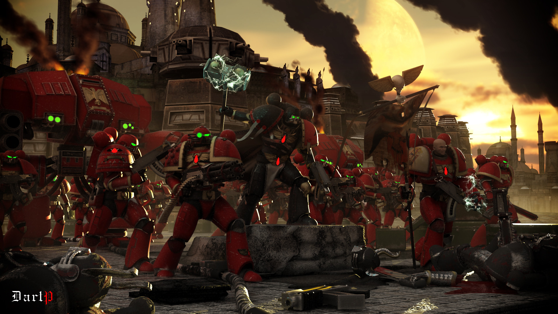 1920x1080 Warhammer 40k art about 3d blood_angels bolter chainsword chaos dartp .