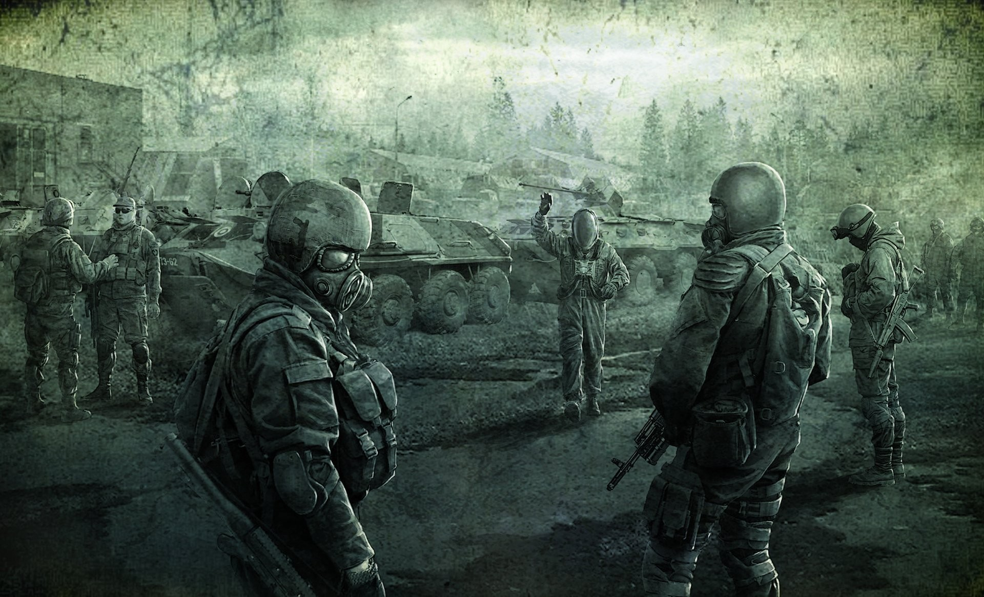 1920x1165 s.t.a.l.k.e.r call of pripyat stalker men freedom tanks