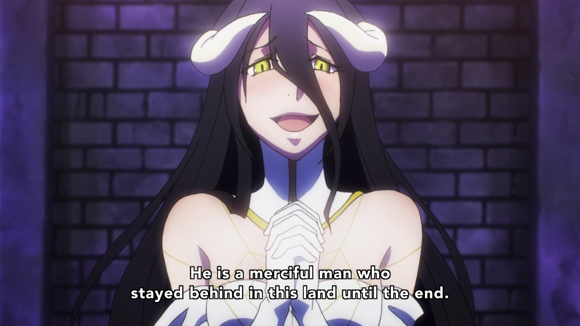 "1920x1080 Albedo also mentions Momonga staying ""until the end."" Demiurge notices that  Shalltear still hasn't risen from her kneeling position."