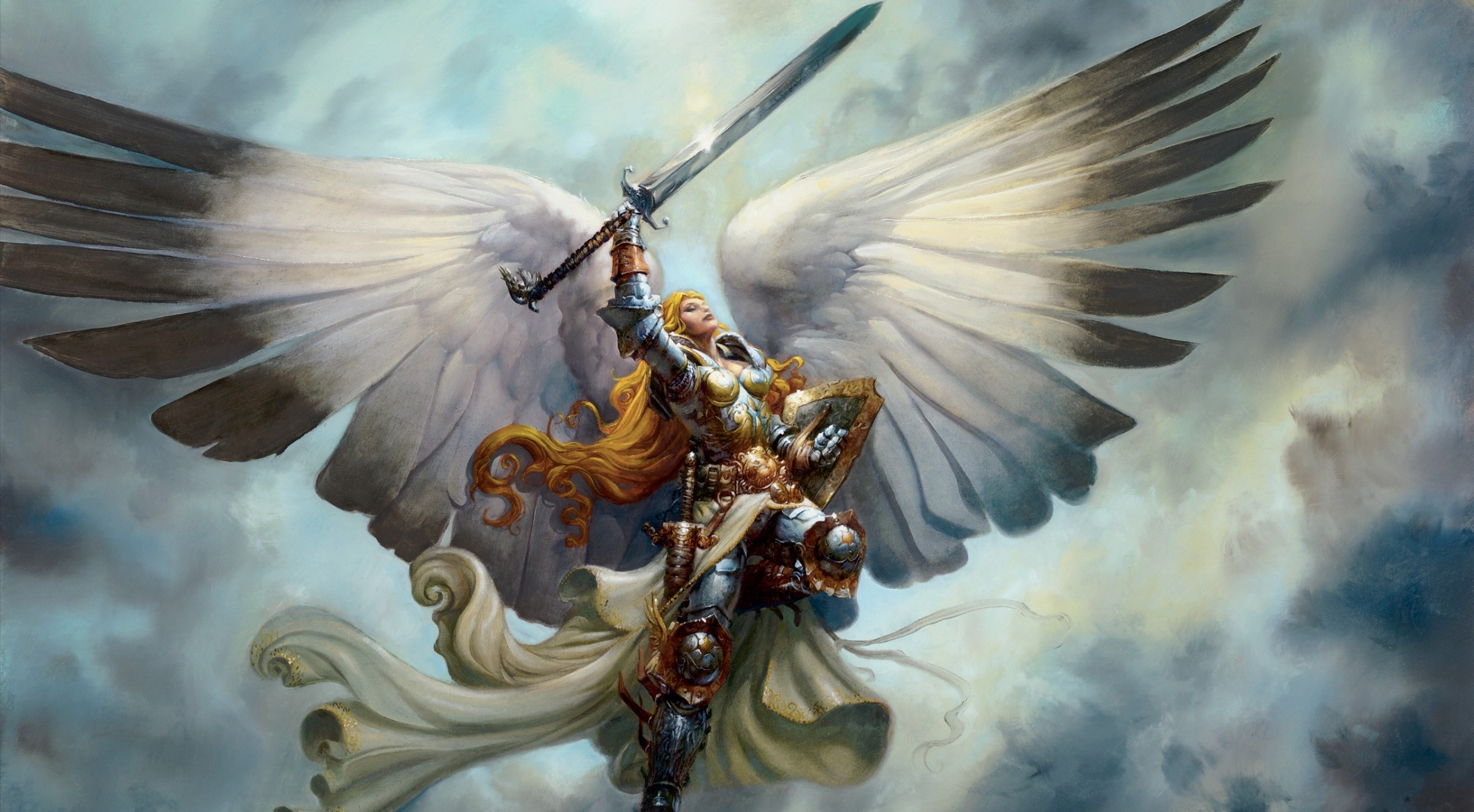 2400x1323 Angel Wings Armour Fantasy Magic The Gathering Serra Angel Swords Wallpaper