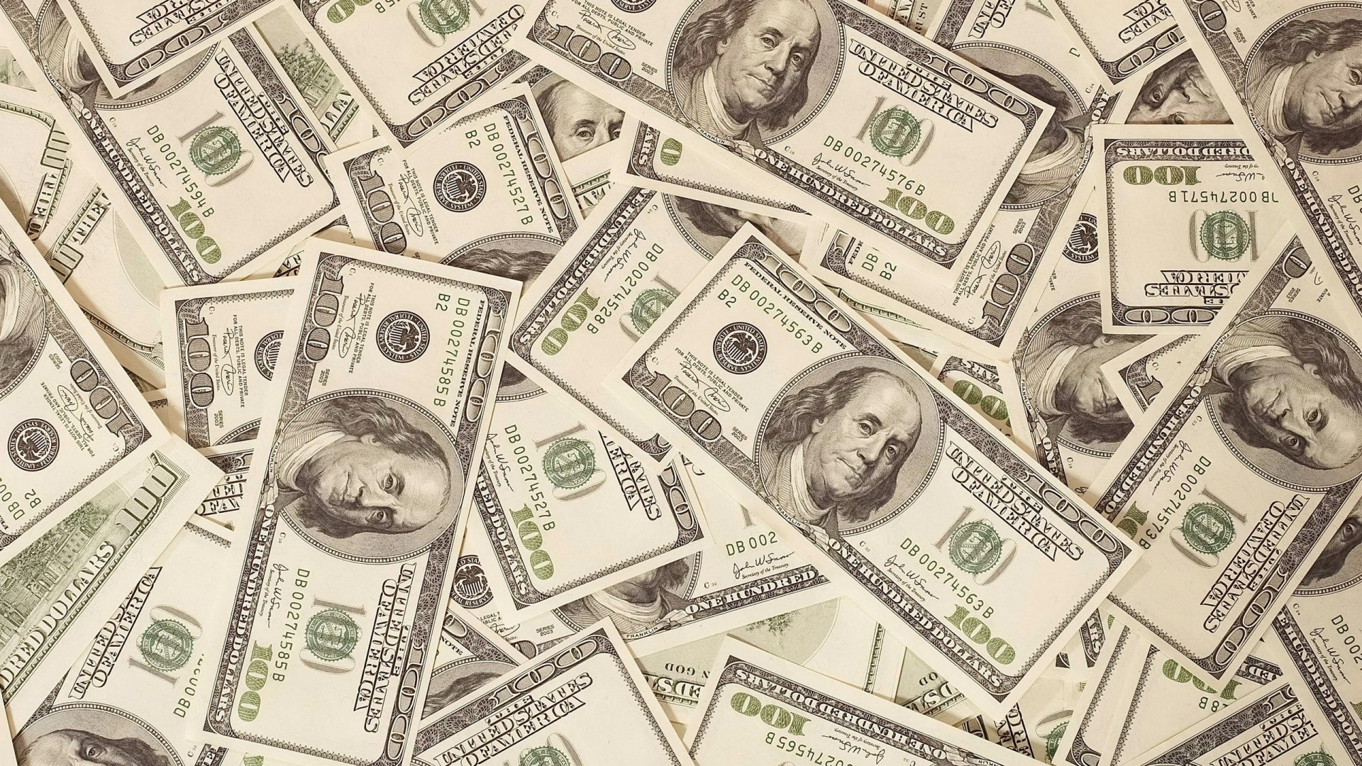 1920x1080 Preview wallpaper money, dollars, bills, background, surface
