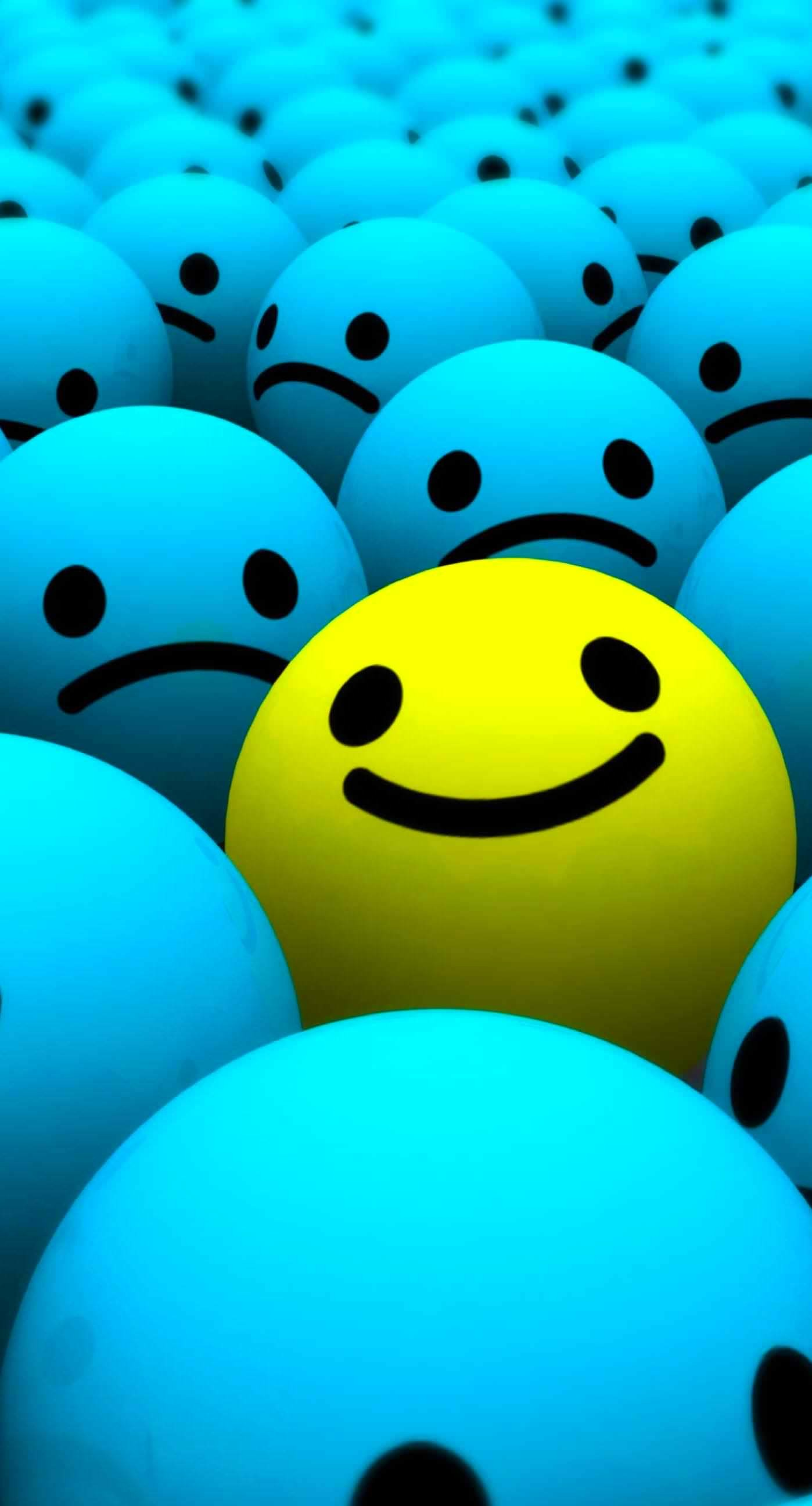 1398x2592 Cute Blue yellow Smiley balls