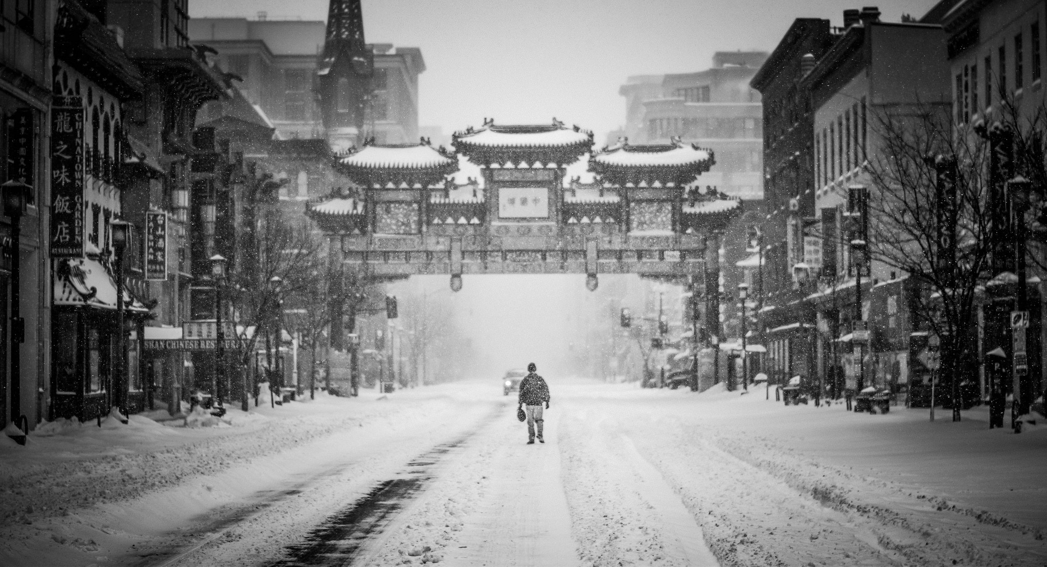 2048x1110 Free Images : person, cold, black and white, architecture, road, street,  car, building, alley, city, cityscape, asian, store, weather, lane, season,  flake, ...