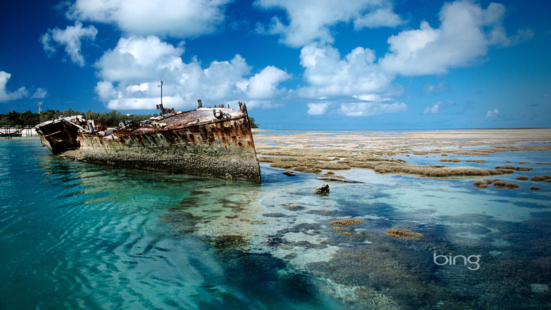 1920x1080 Bing Shipwreck on Heron Island desktop background Australia full hd.
