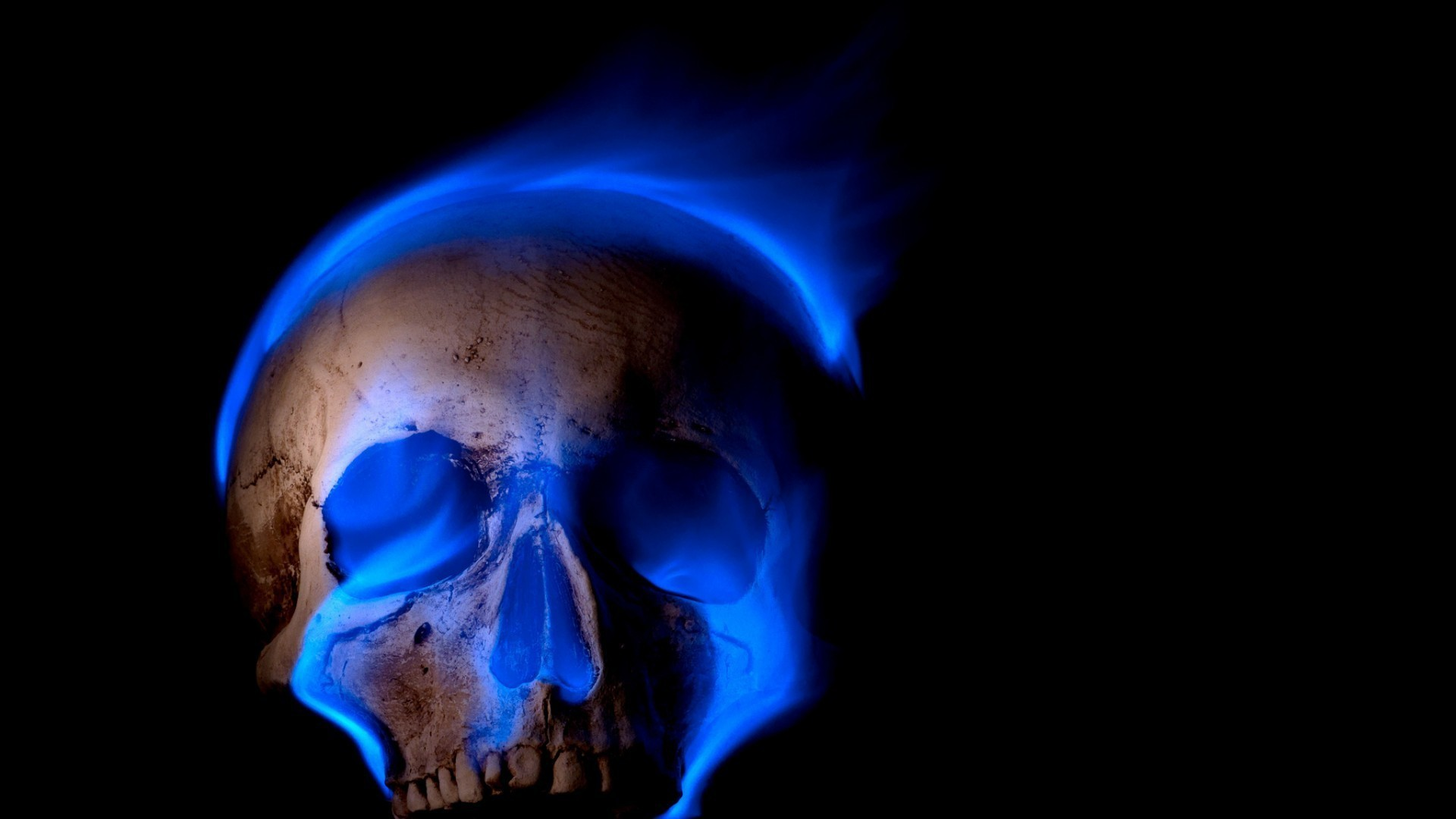 1920x1080  digital Art, Skull, Black Background, Teeth, Burning, Blue  Flames, Fire, Death, Spooky, Gothic Wallpapers HD / Desktop and Mobile  Backgrounds
