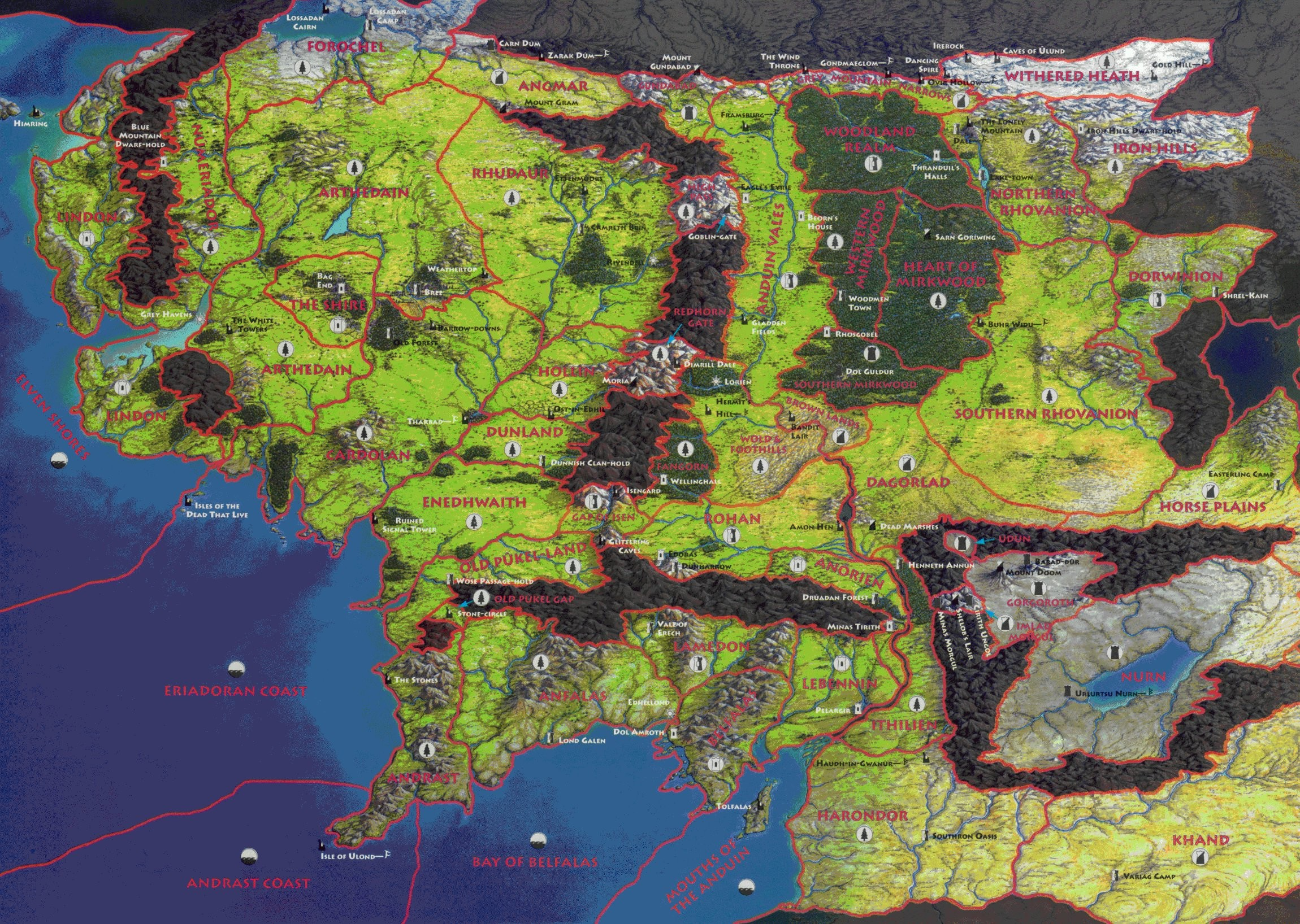 Map of Middle Earth Wallpaper (42+ images) Full Map Of Middle Earth on