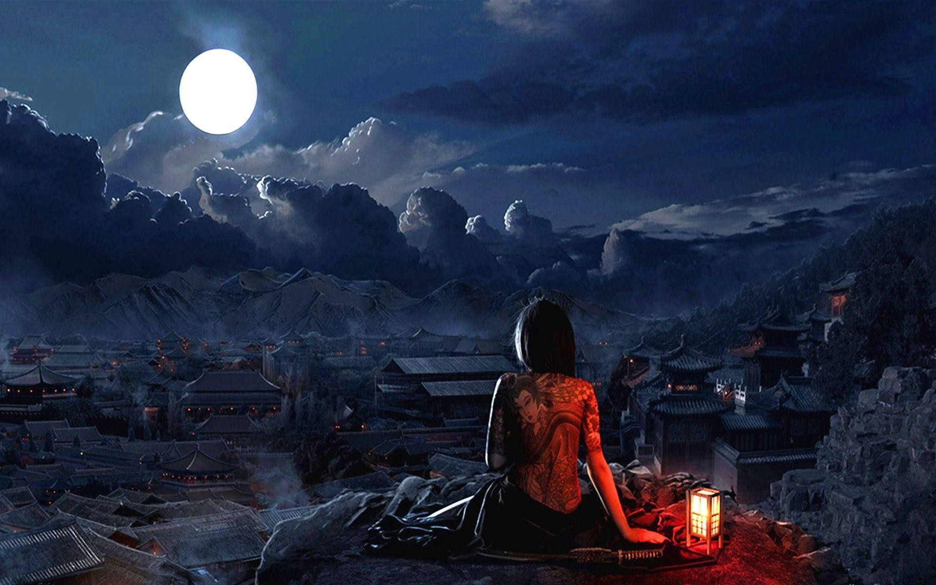 1920x1200 Girl With Tatto Full Moon Wallpaper #3828 Wallpaper | Wallshed.