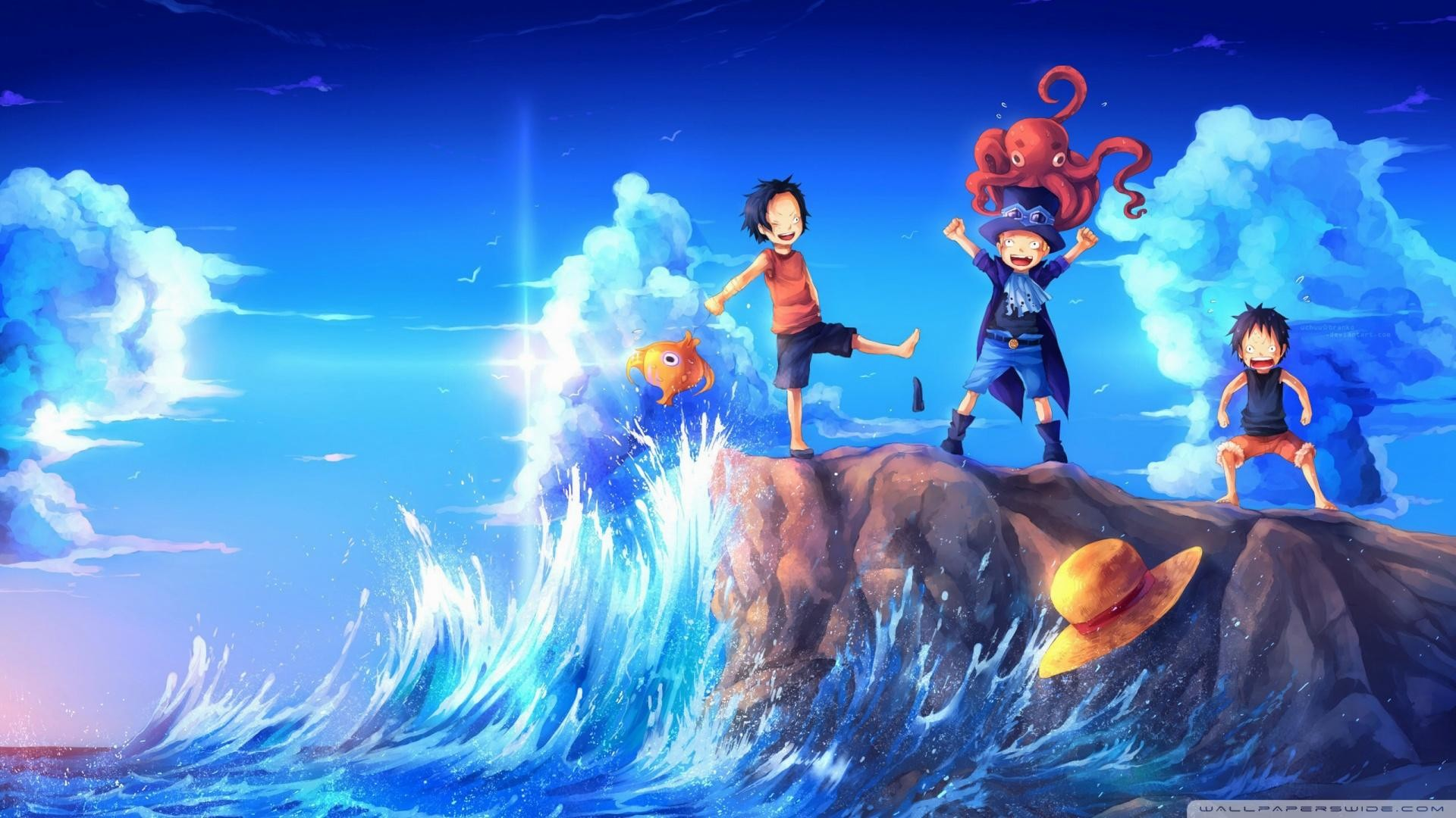 1920x1080 One-Piece-Art-Sabo-Portgas-D.Ace-Luffy-