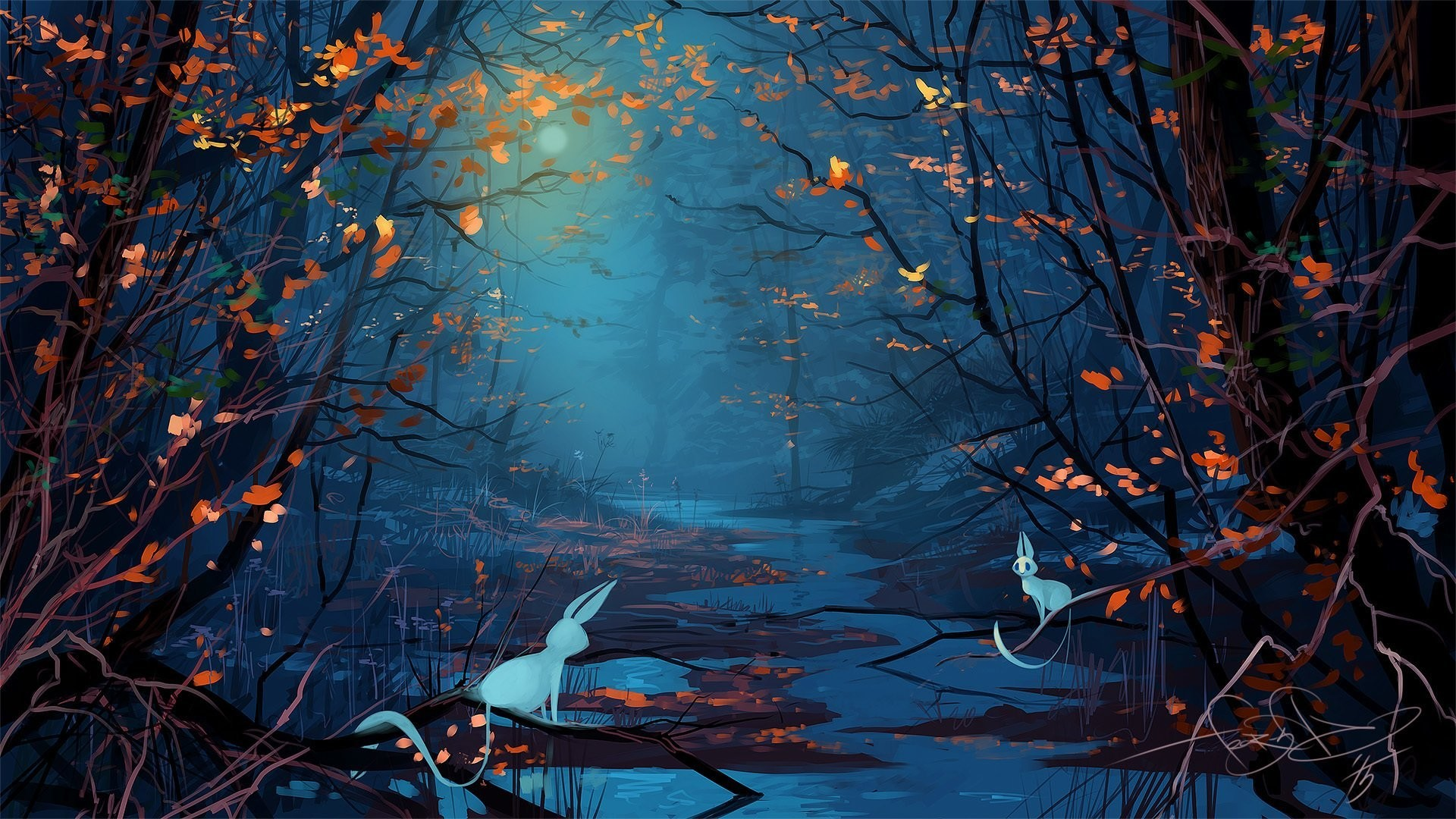 1920x1080 fantasy forest tree animals night moon art