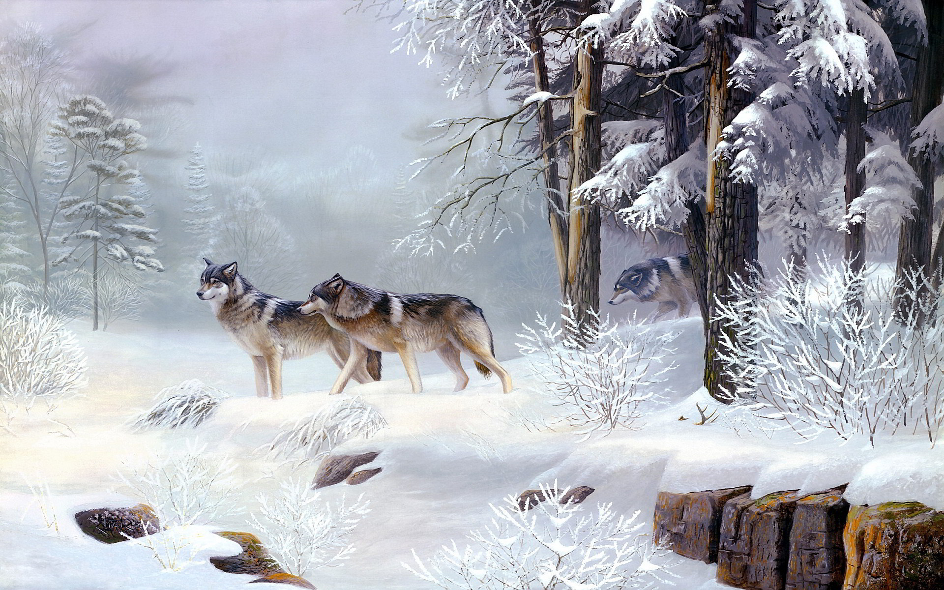 1920x1200 Winter wolves art