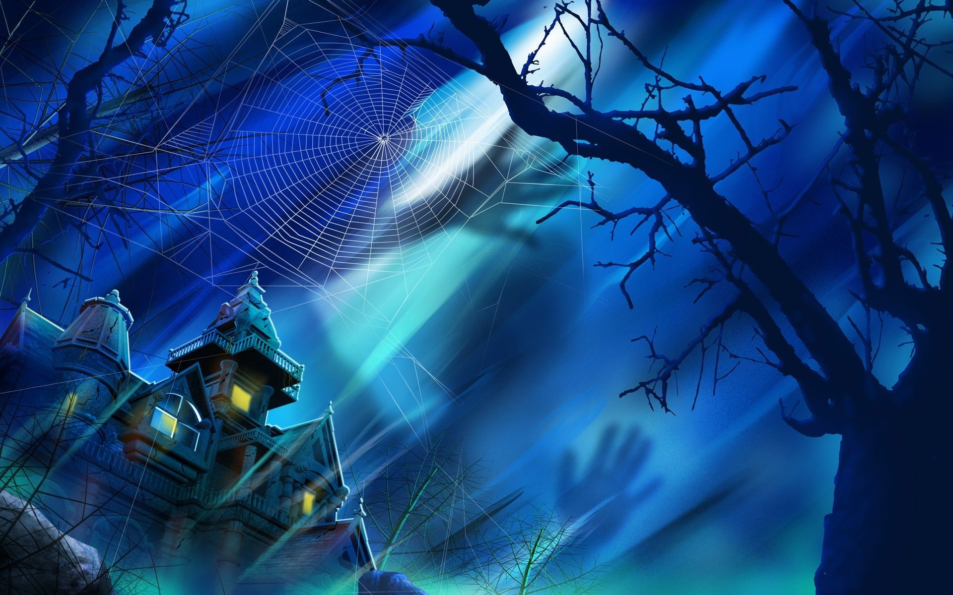 1920x1200 blue house images | Blue Night Haunted House desktop wallpaper
