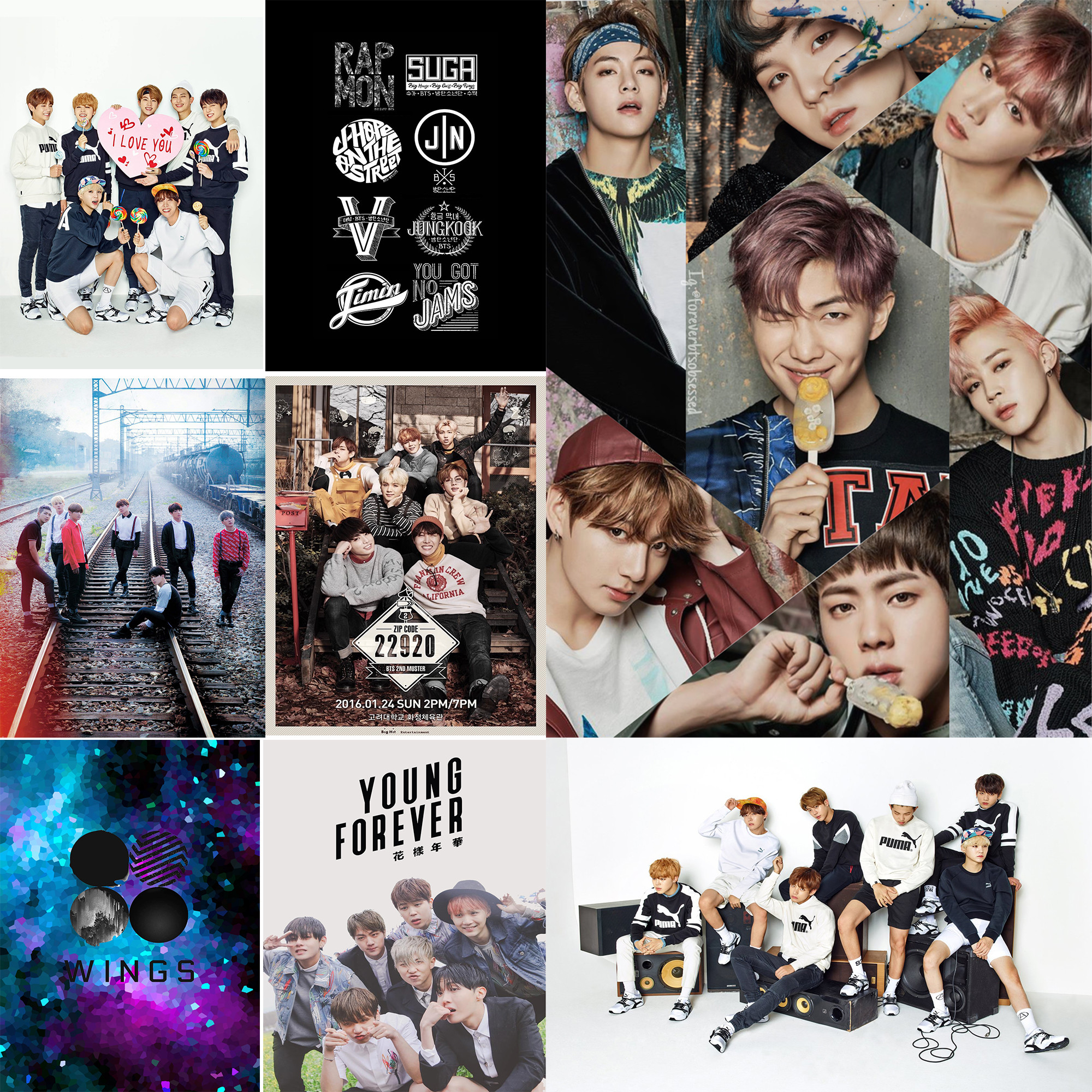 2000x2000 BTS Band Posters Wall Stickers White Paper Prints Home Decoration Abooly  MD6541(China)