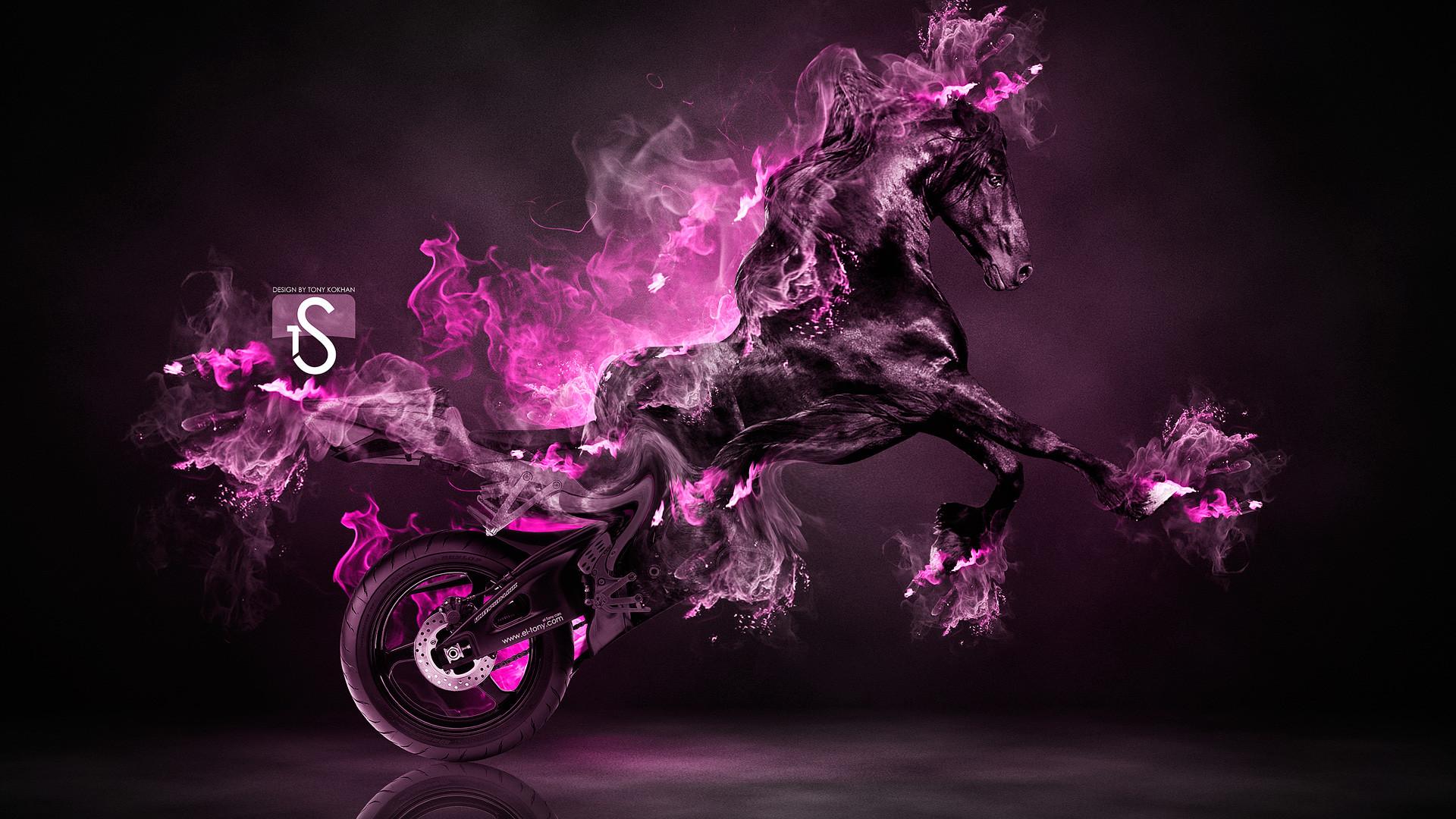 Incroyable 1920x1080 Fire Moto Fantasy Horse 2013 Â« El Tony