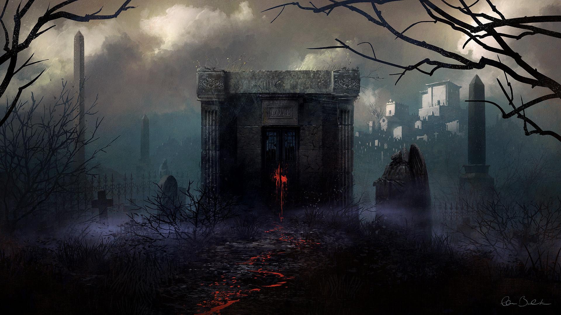 1920x1080 Download Gothic Christopher Balaskas Fog Fantasy Halloween Blood Spooky Wallpaper At Dark Wallpapers