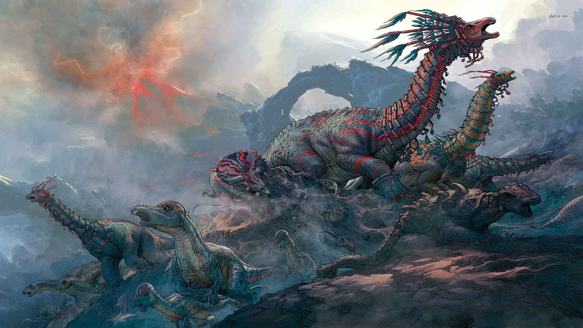 1920x1080 HD Wild Dinosaur Colony 1080p Wallpaper Full Size - HiReWallpapers .