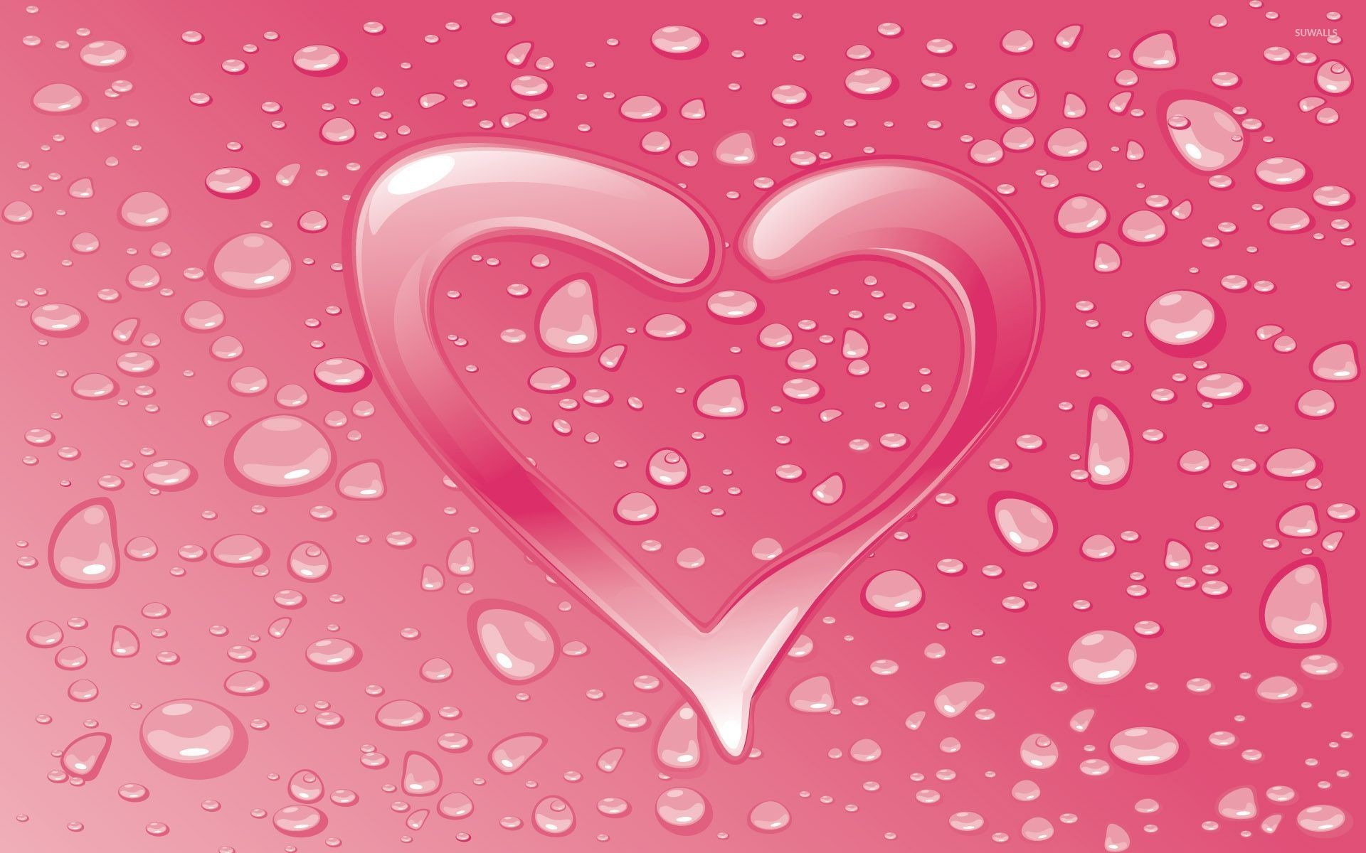 1920x1200 Water drops on the pink heart wallpaper