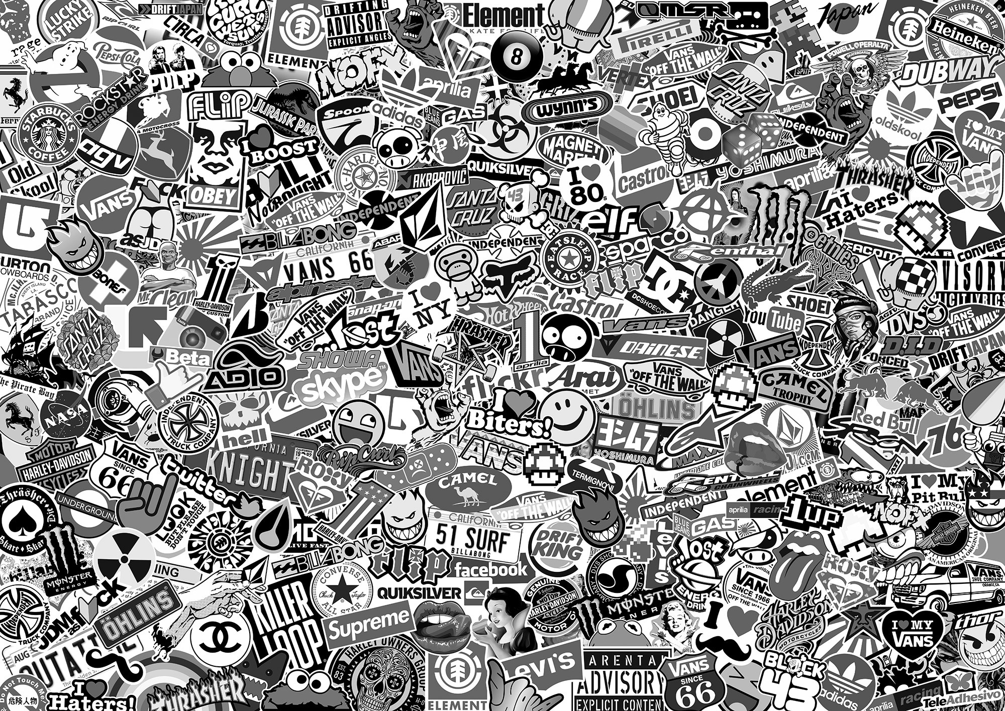 2000x1415 Car and Motorbike Stickers: Stickerbomb XL black and white