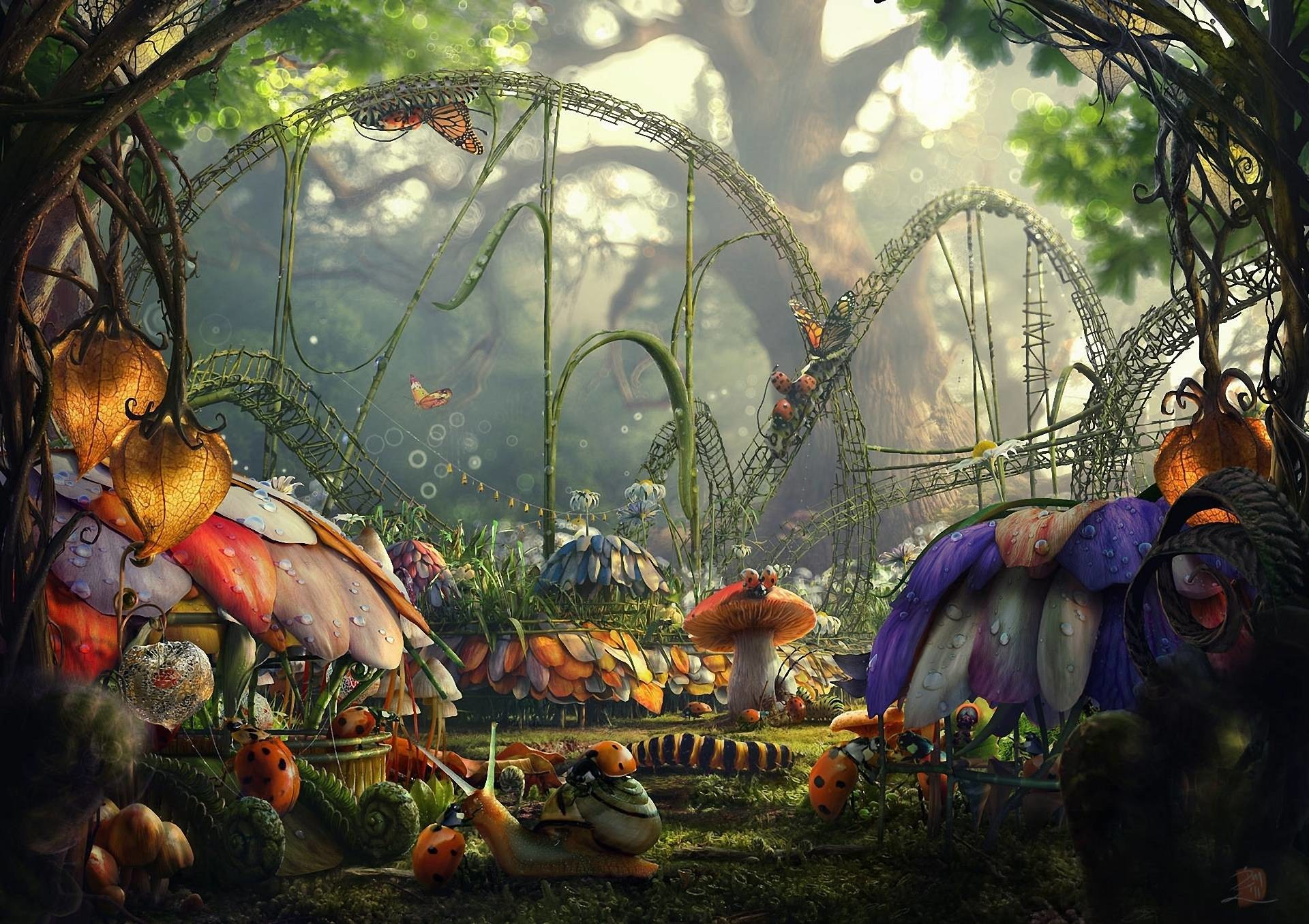1920x1356 Fairytale Forest Insects City - Nature Wallpapers