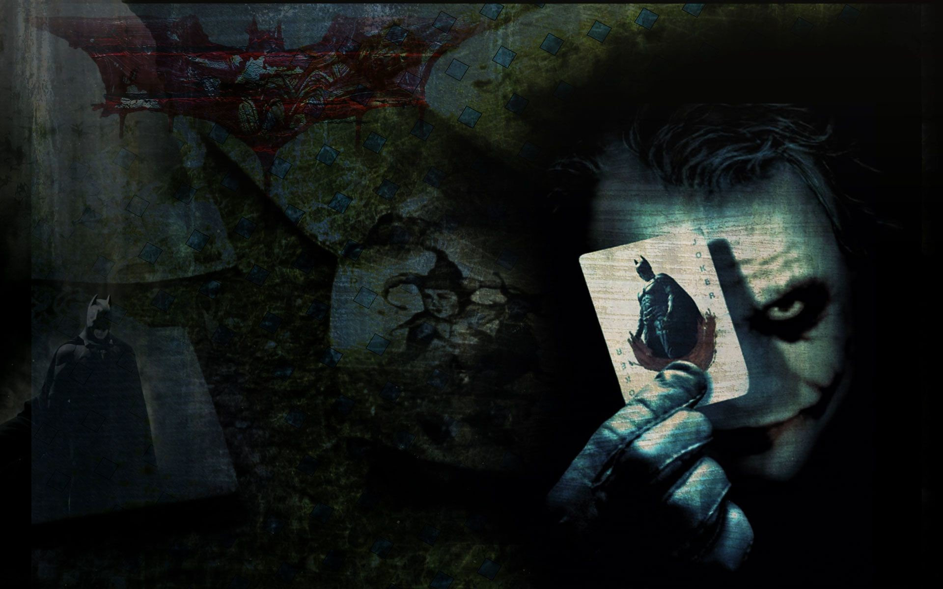 1920x1200 This poster if for the Batman the Dark Knight move. The jokers face and the  playing card he is holding are light colored over a dark background.