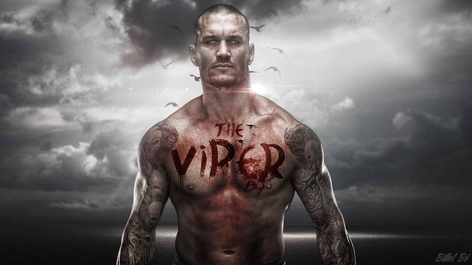 1920x1080 Great typographic art of the RKO and the Viper himself in this deadly theme  for the wrestler.