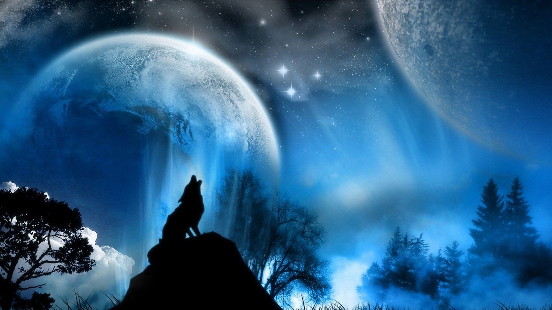 1920x1080 moon wolf Dogs Animals Background Wallpapers on Desktop Nexus