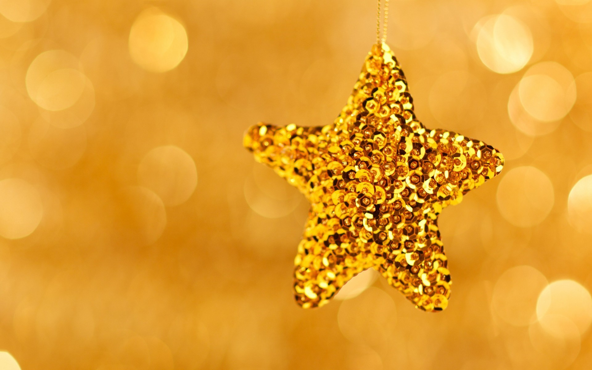 1920x1200 Christmas Star Gold New Year Holiday Bokeh