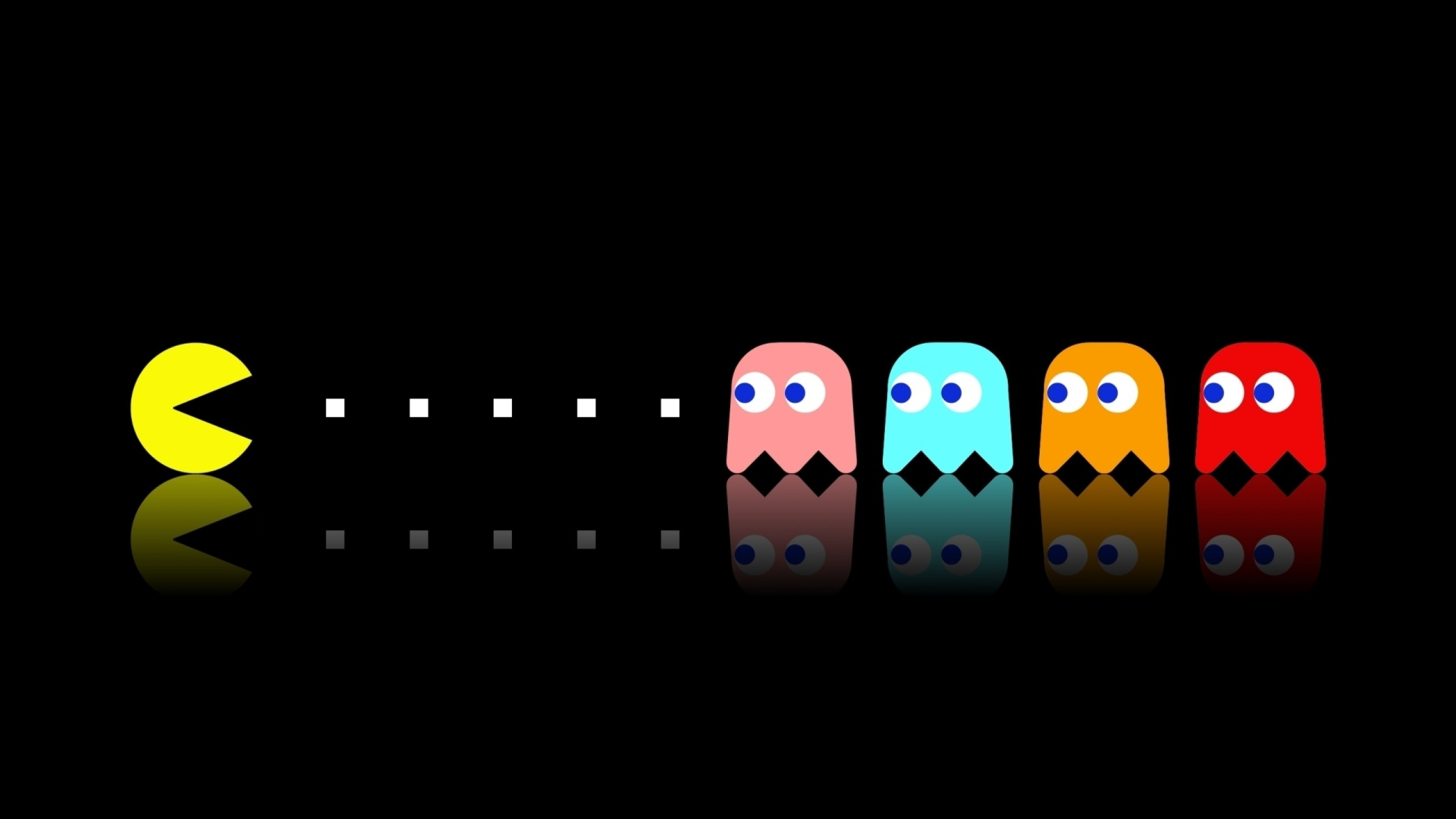 2560x1440 Download Wallpaper  pacman, game, multi-colored, eating Mac .