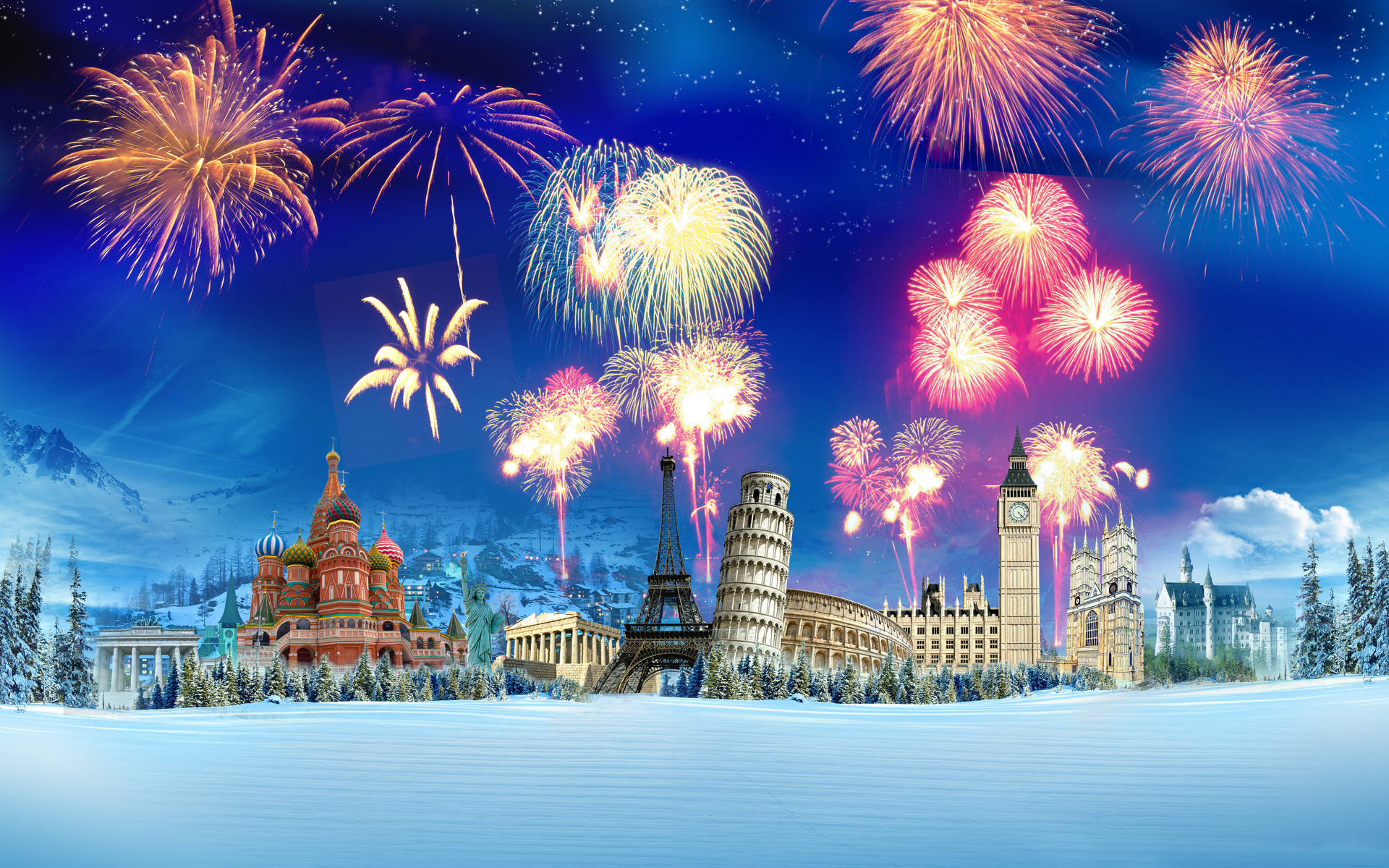 1920x1200 Happy New Year 2016 Fireworks Images and Wallpapers
