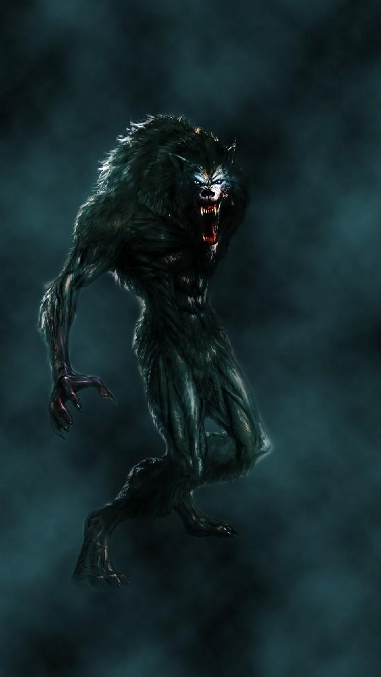 1440x2560 Preview wallpaper werewolf, mouth, fangs, flying, fog