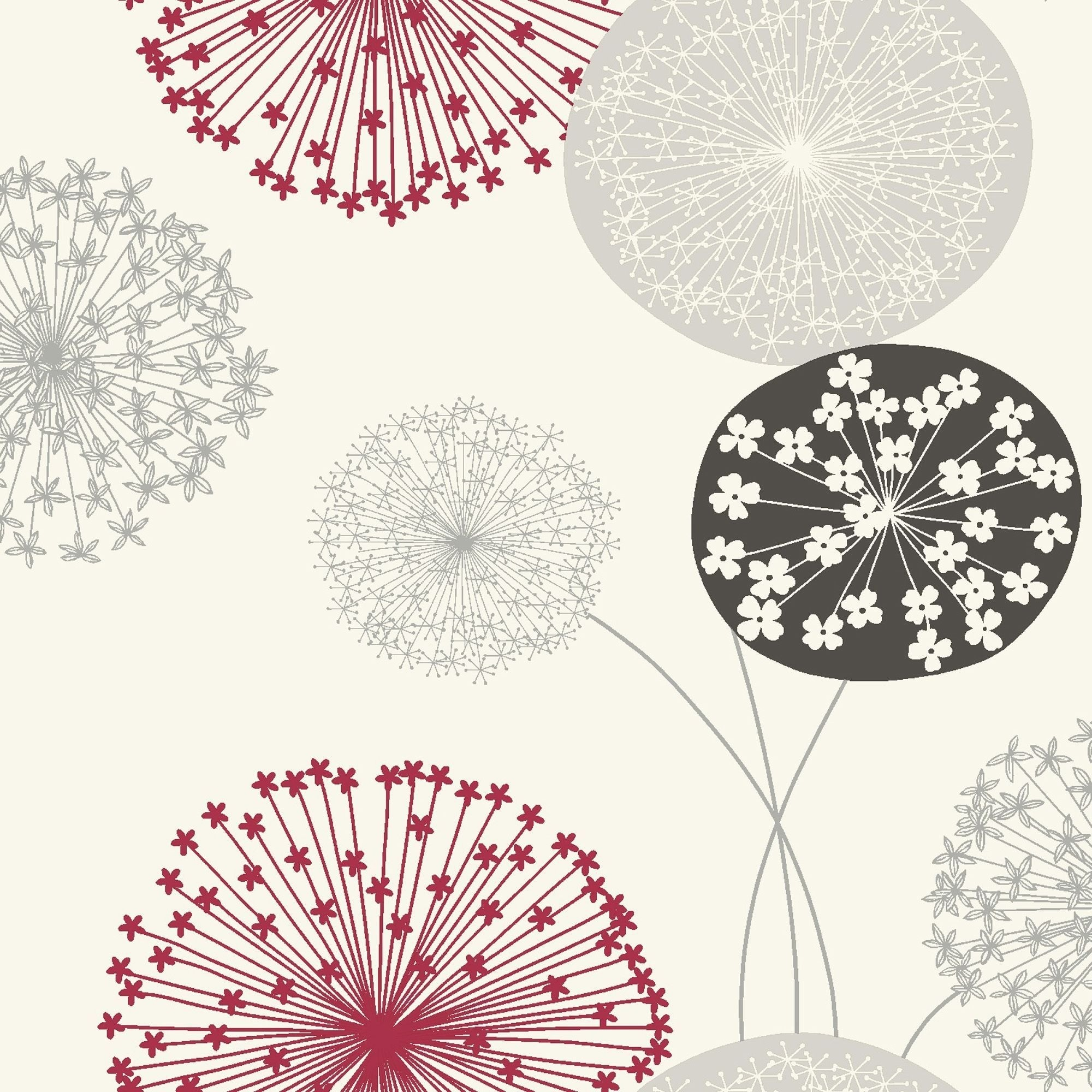 2000x2000 Modern and Efficient Small and Efficient B&q Lucienne Grey & Red  Floral Wallpaper